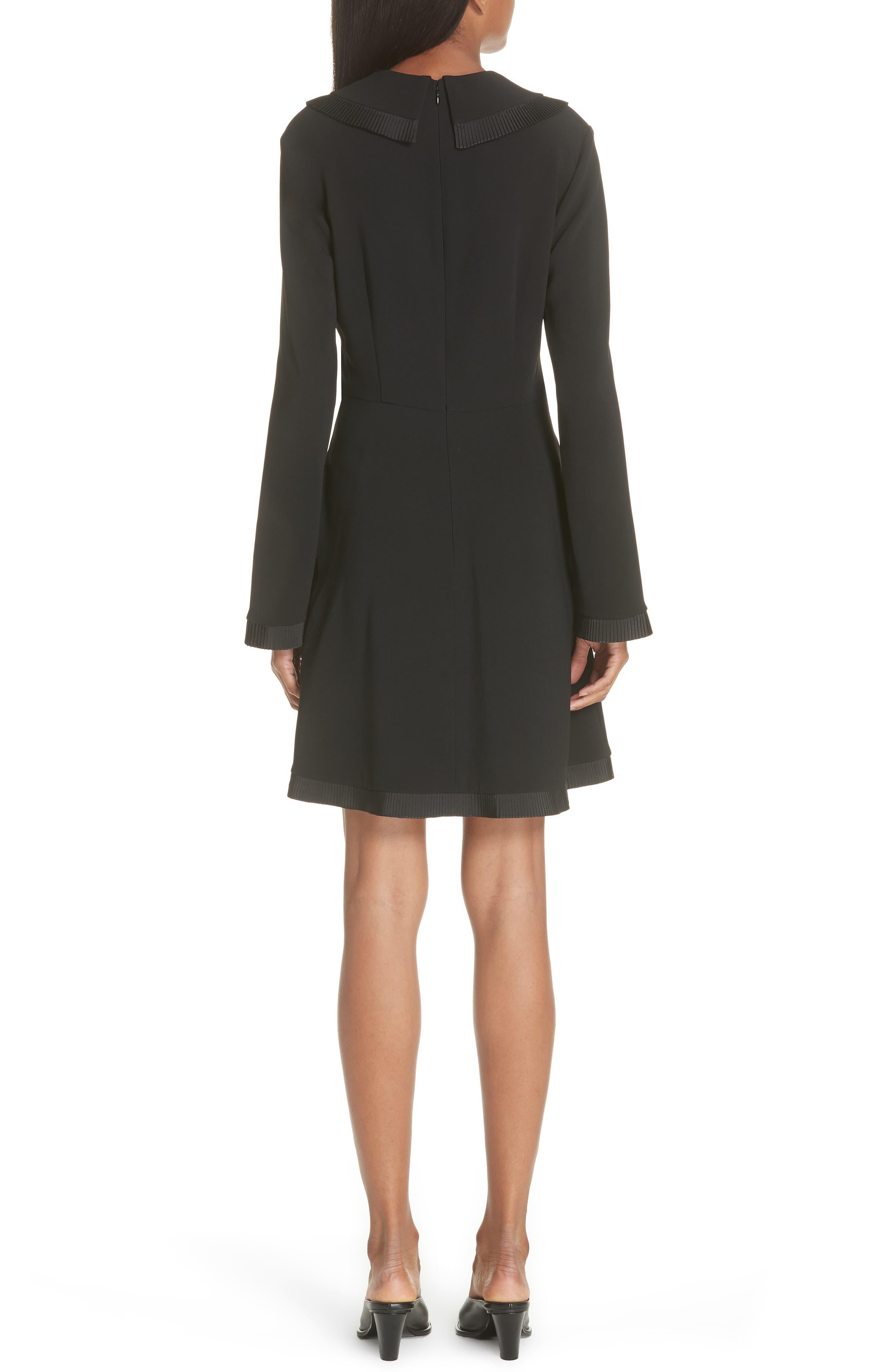 Ruffle Trim Keyhole Dress,                             Alternate thumbnail 2, color,                             BLACK