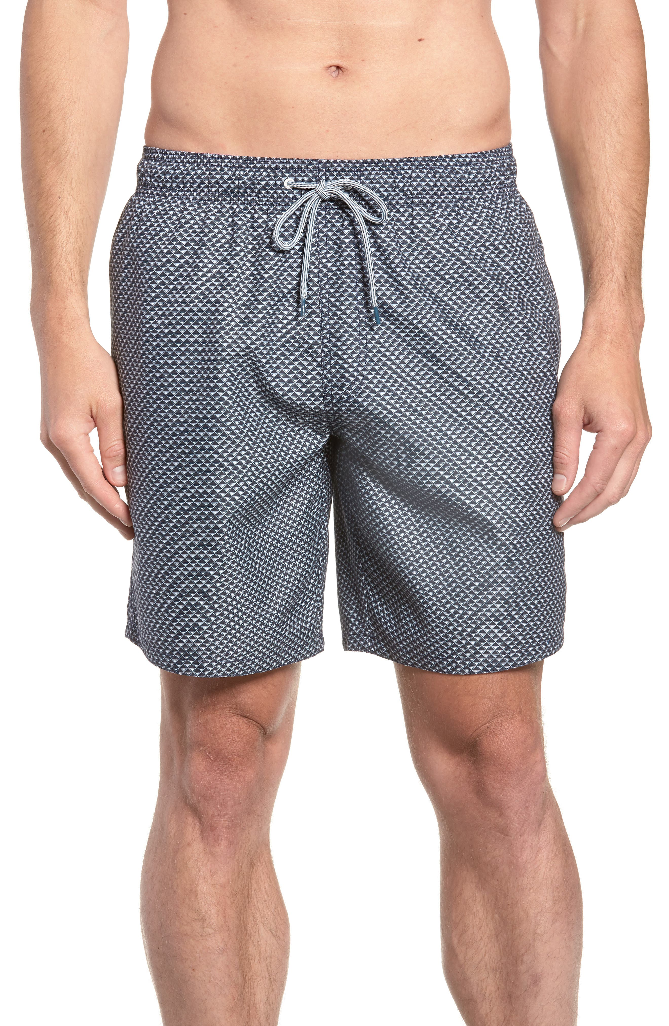 Doree Geo Print Swim Trunks,                             Main thumbnail 1, color,                             410