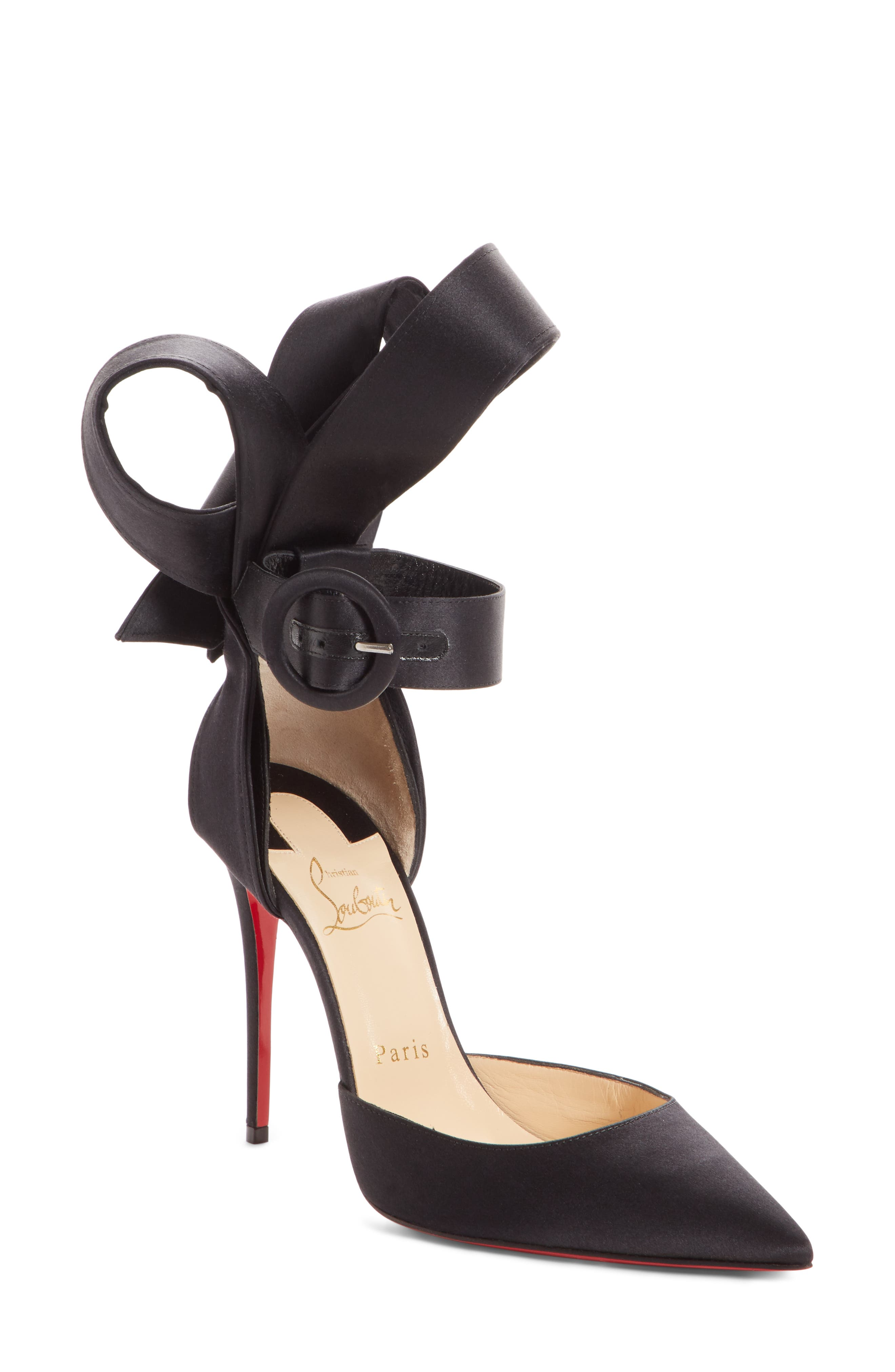 Raissa Bow Ankle Strap Pump,                             Main thumbnail 1, color,                             BLACK