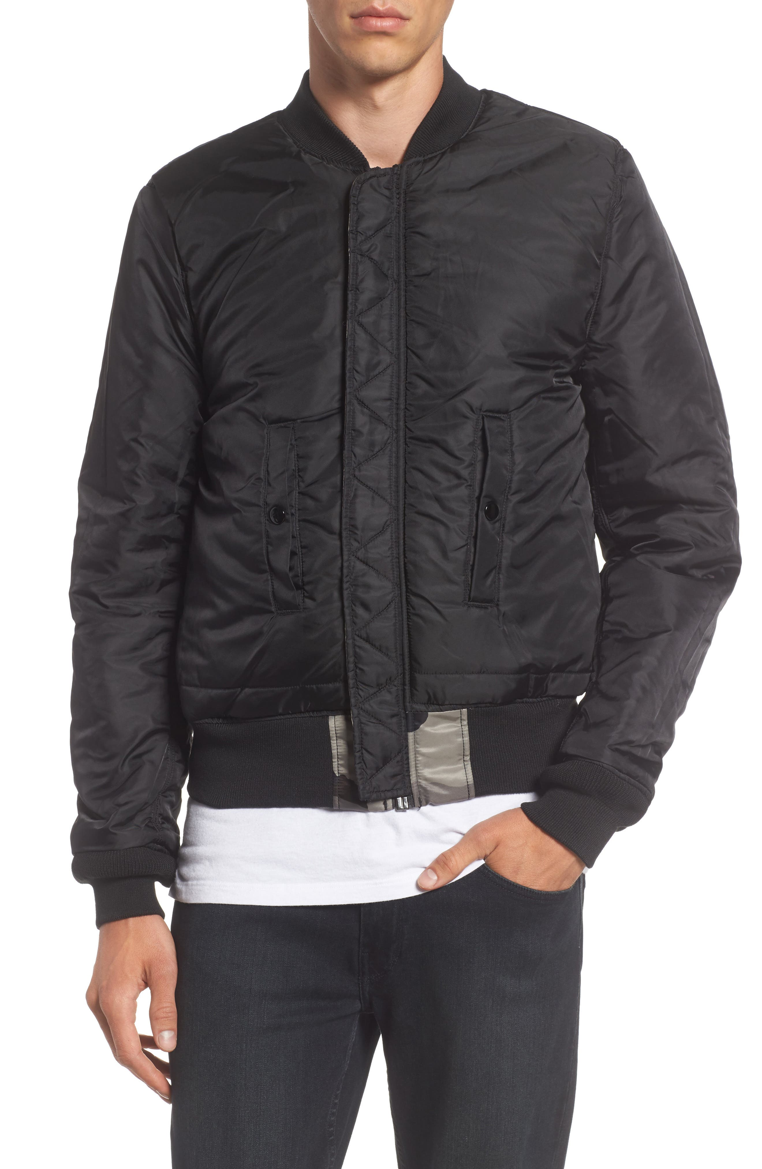 'MA-1' Slim Fit Bomber Jacket,                             Alternate thumbnail 4, color,                             005