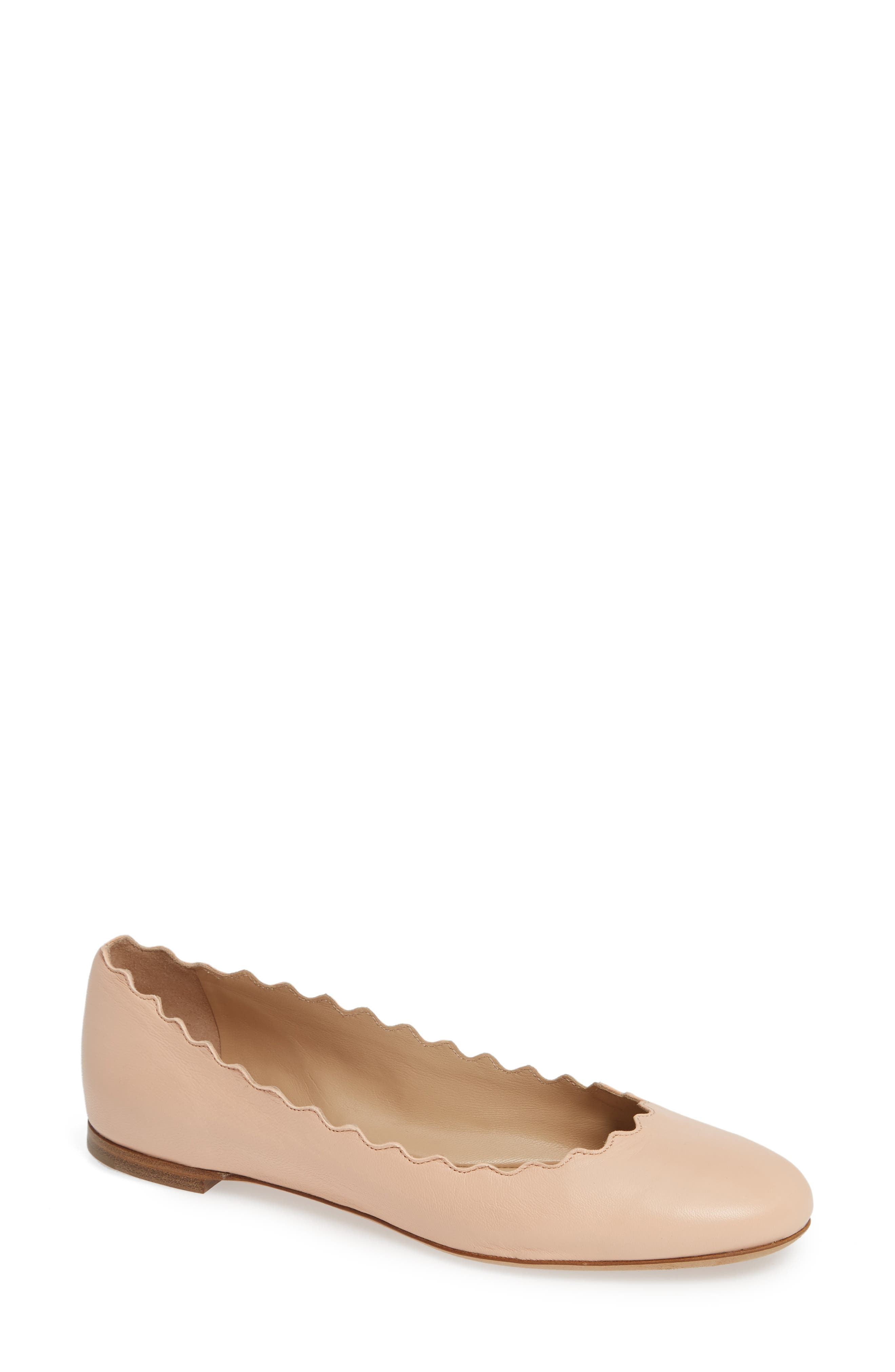 'Lauren' Scalloped Ballet Flat,                             Main thumbnail 1, color,                             DELICATE PINK LEATHER