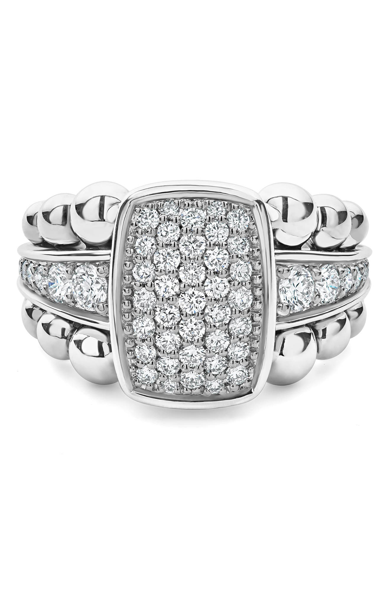 LAOGS Caviar Spark Vertical Statement Ring,                             Alternate thumbnail 5, color,                             SILVER/ DIAMOND