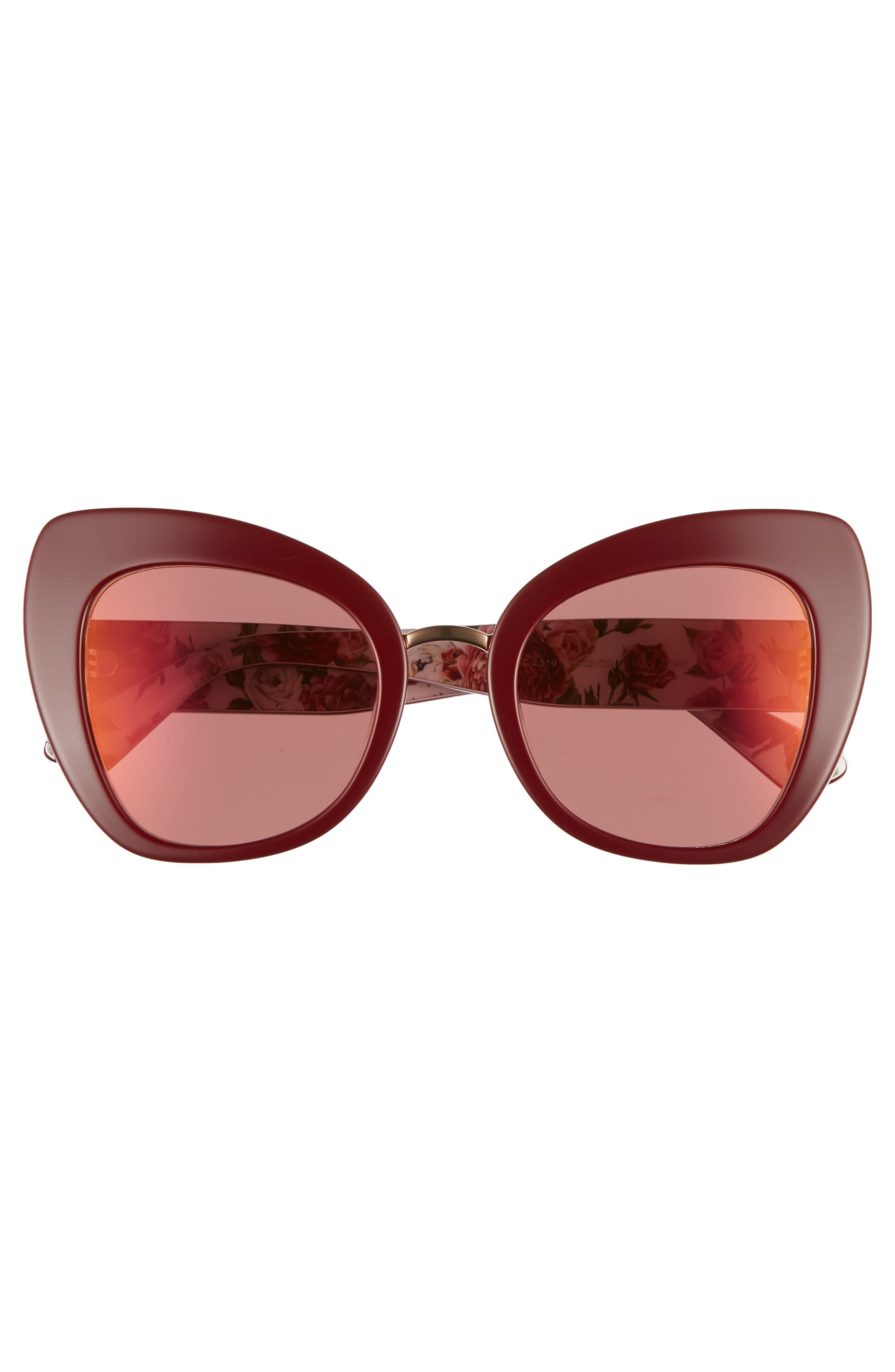 51mm Mirrored Cat Eye Sunglasses,                             Alternate thumbnail 3, color,                             PURPLE/ RED MIRROR