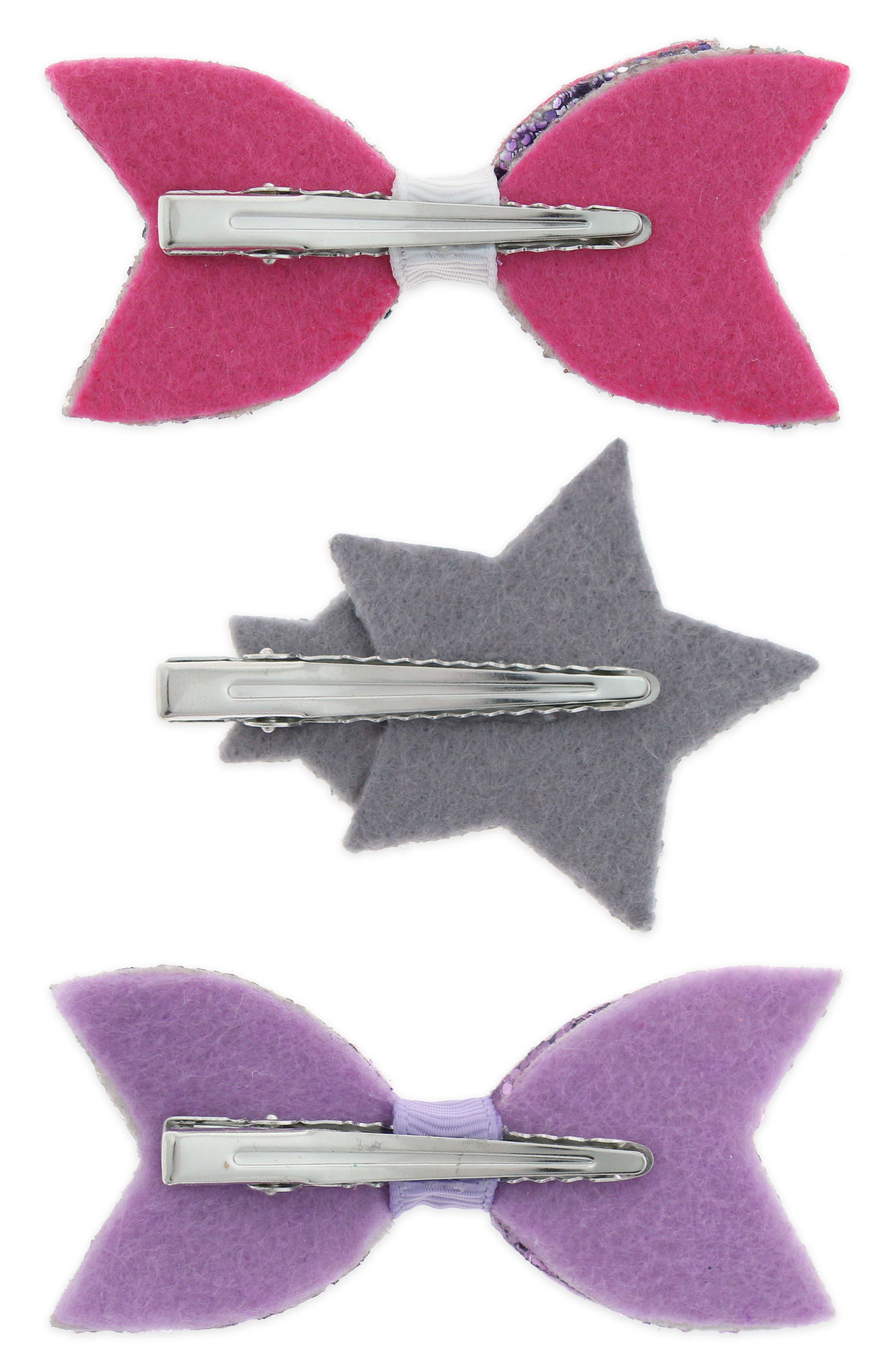 Glitter Bow Star 3-Piece Hair Clip Set,                             Alternate thumbnail 2, color,                             MULTI RAINBOW COMBO