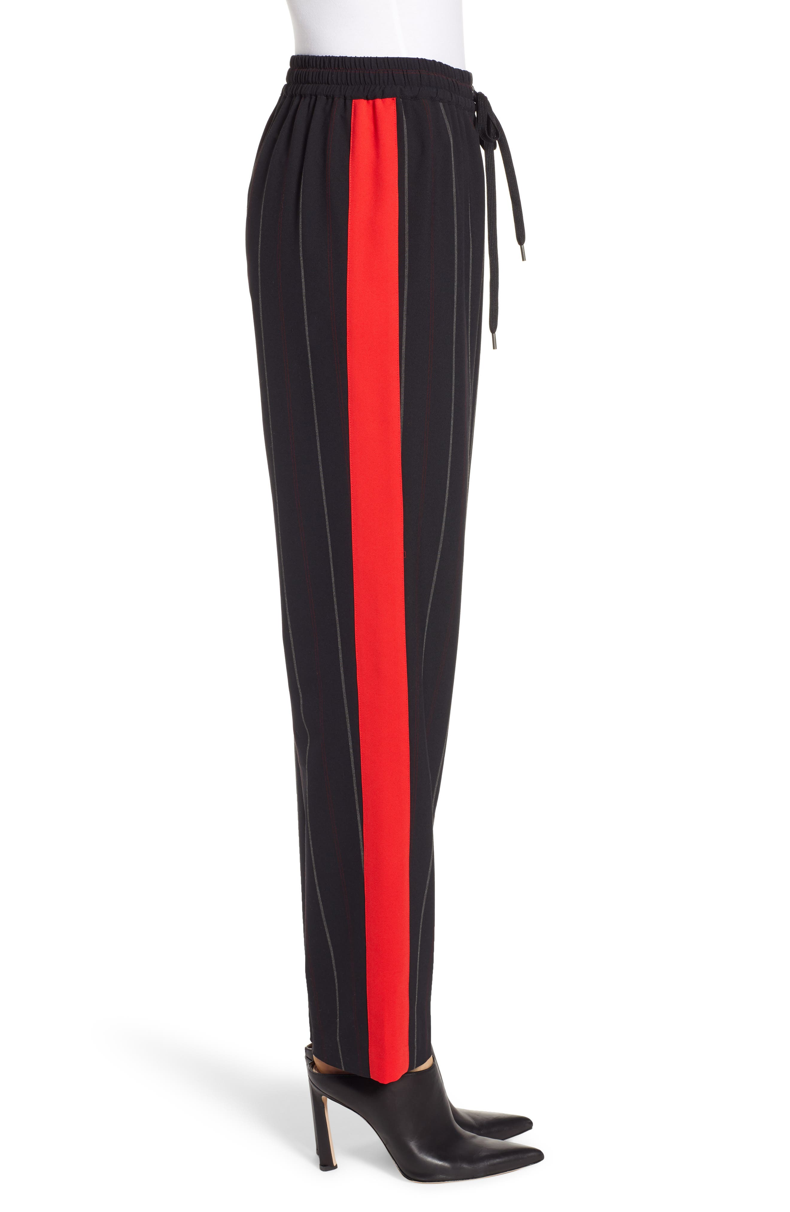 Wide Leg Track Pants,                             Alternate thumbnail 3, color,                             BLACK SHIRLIE STRIPE