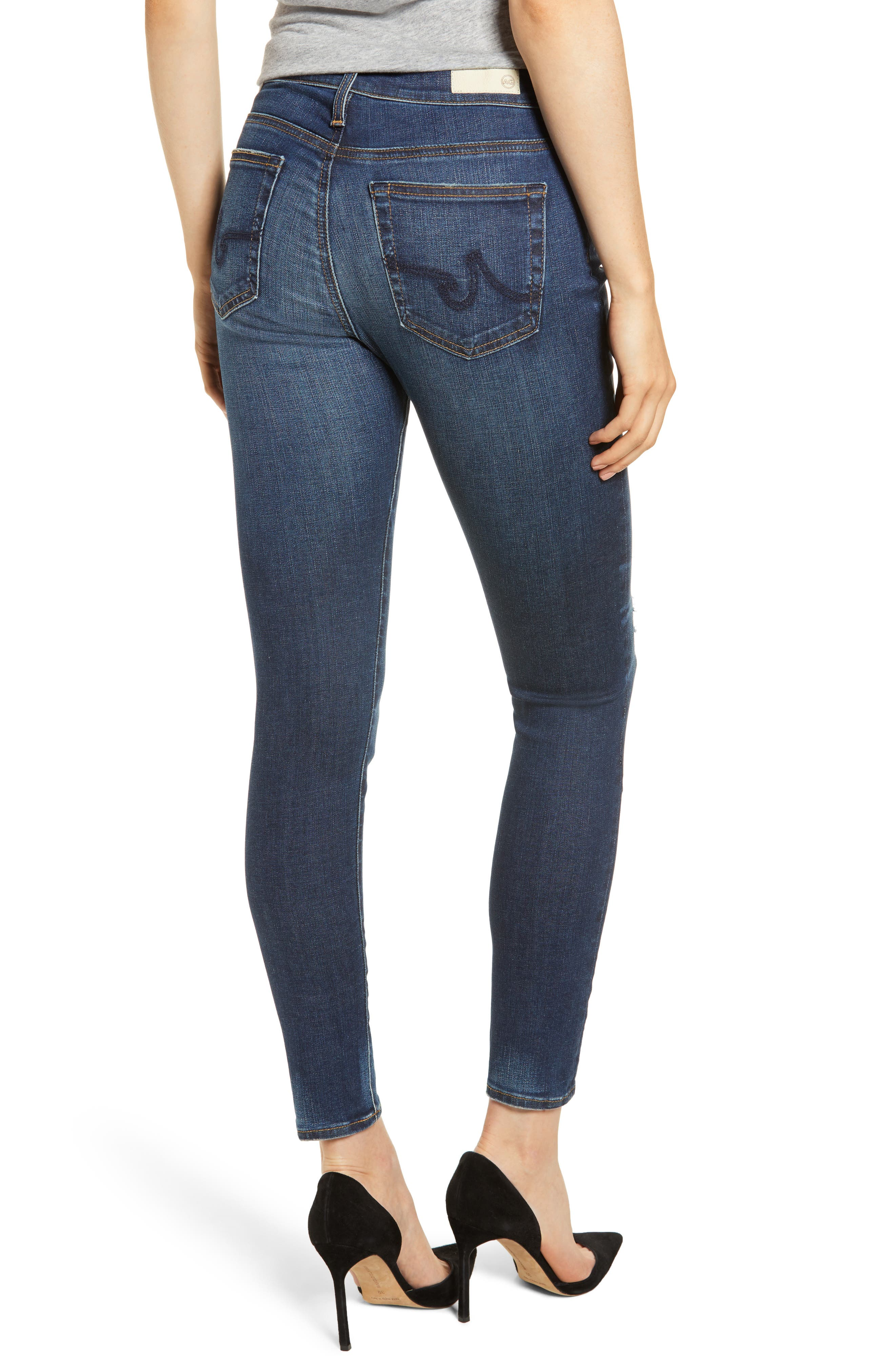 The Farrah High Waist Ankle Skinny Jeans,                             Alternate thumbnail 2, color,                             11Y SHIFTED MENDED