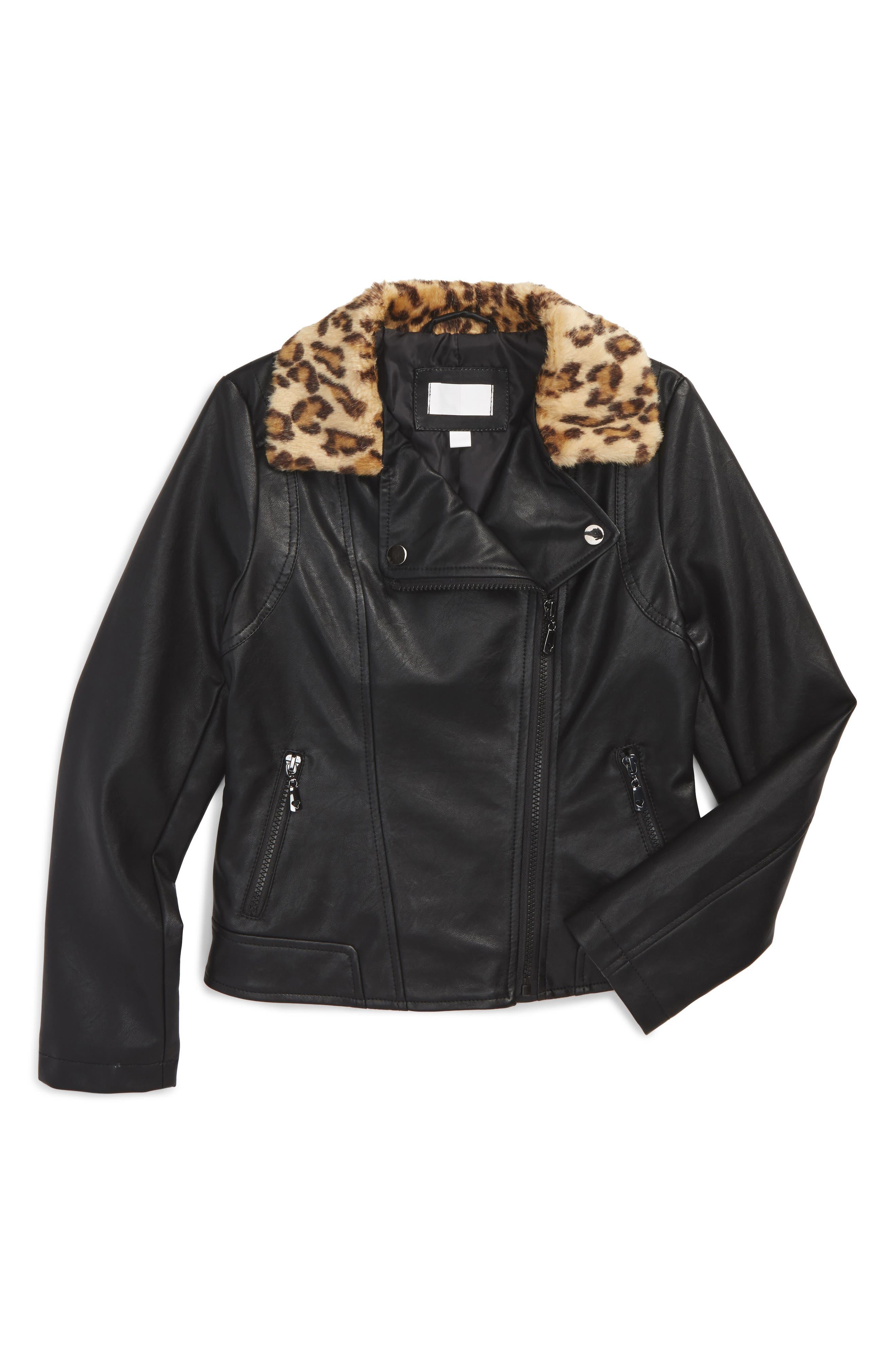 Faux Fur Collar Moto Jacket,                             Main thumbnail 1, color,                             001