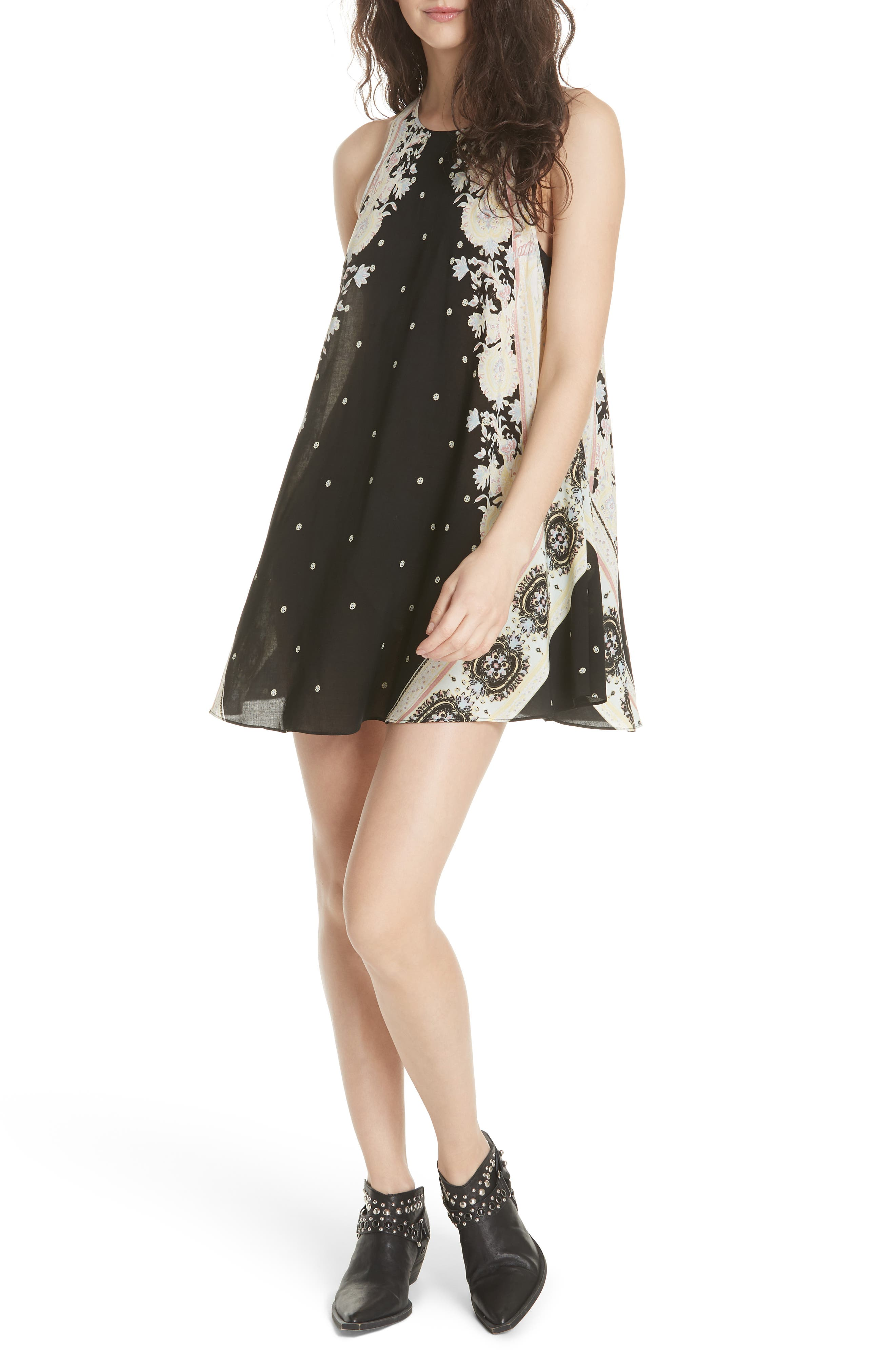 Darjeeling Print Minidress,                             Alternate thumbnail 6, color,                             BLACK COMBO