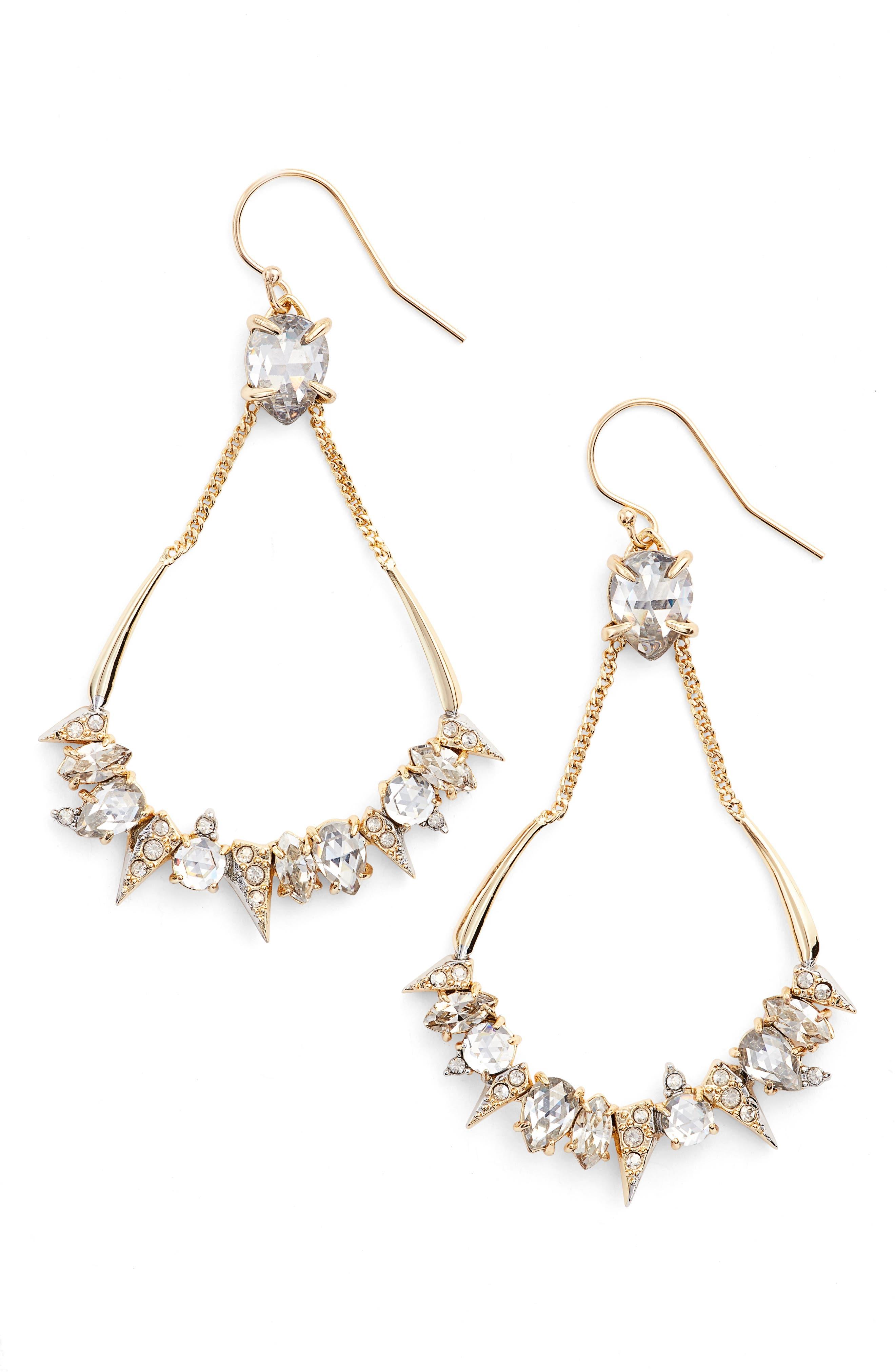 Crystal Encrusted Mosaic Drop Earrings,                             Main thumbnail 1, color,                             710