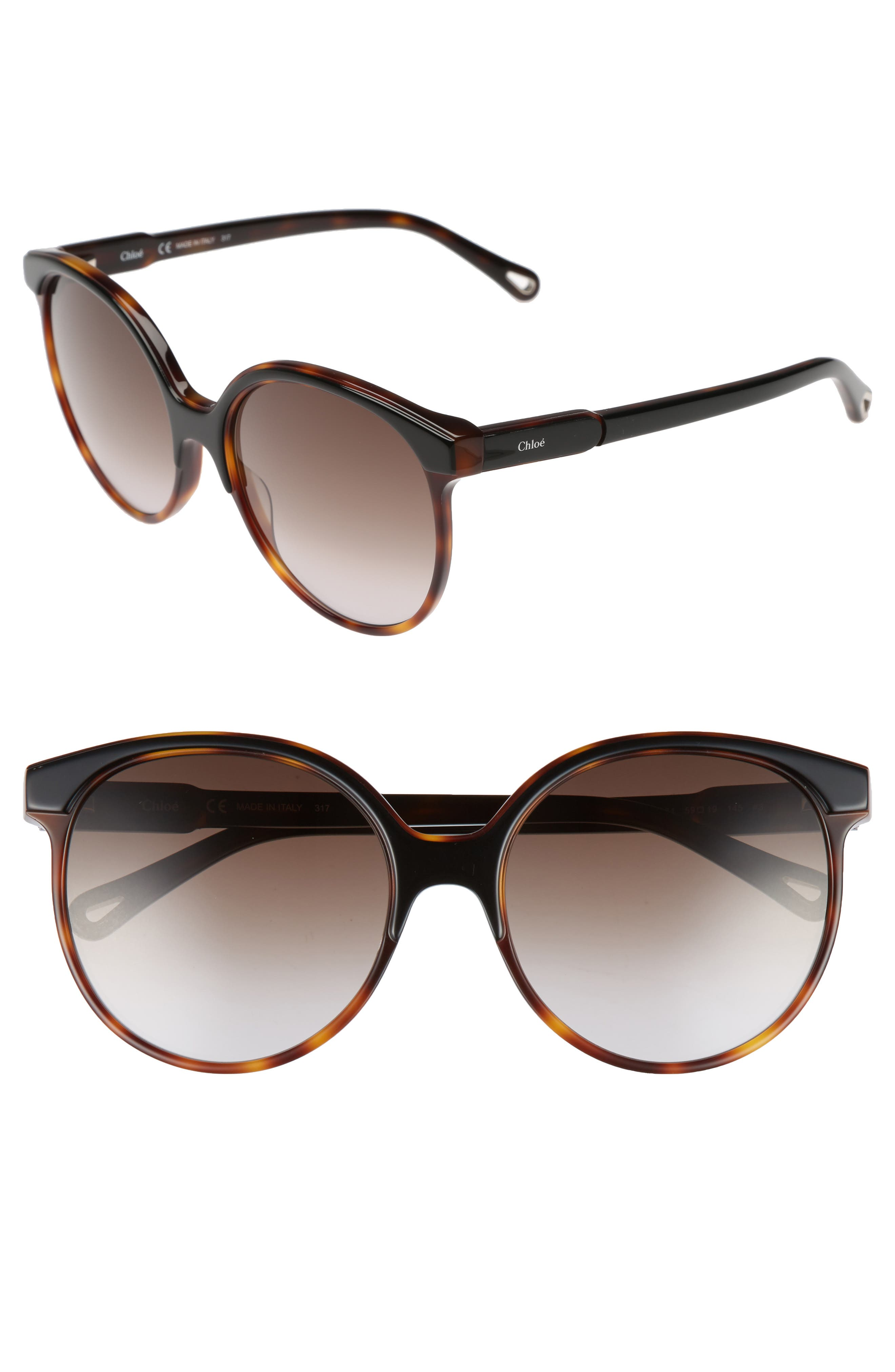 59mm Round Sunglasses,                             Main thumbnail 1, color,                             004