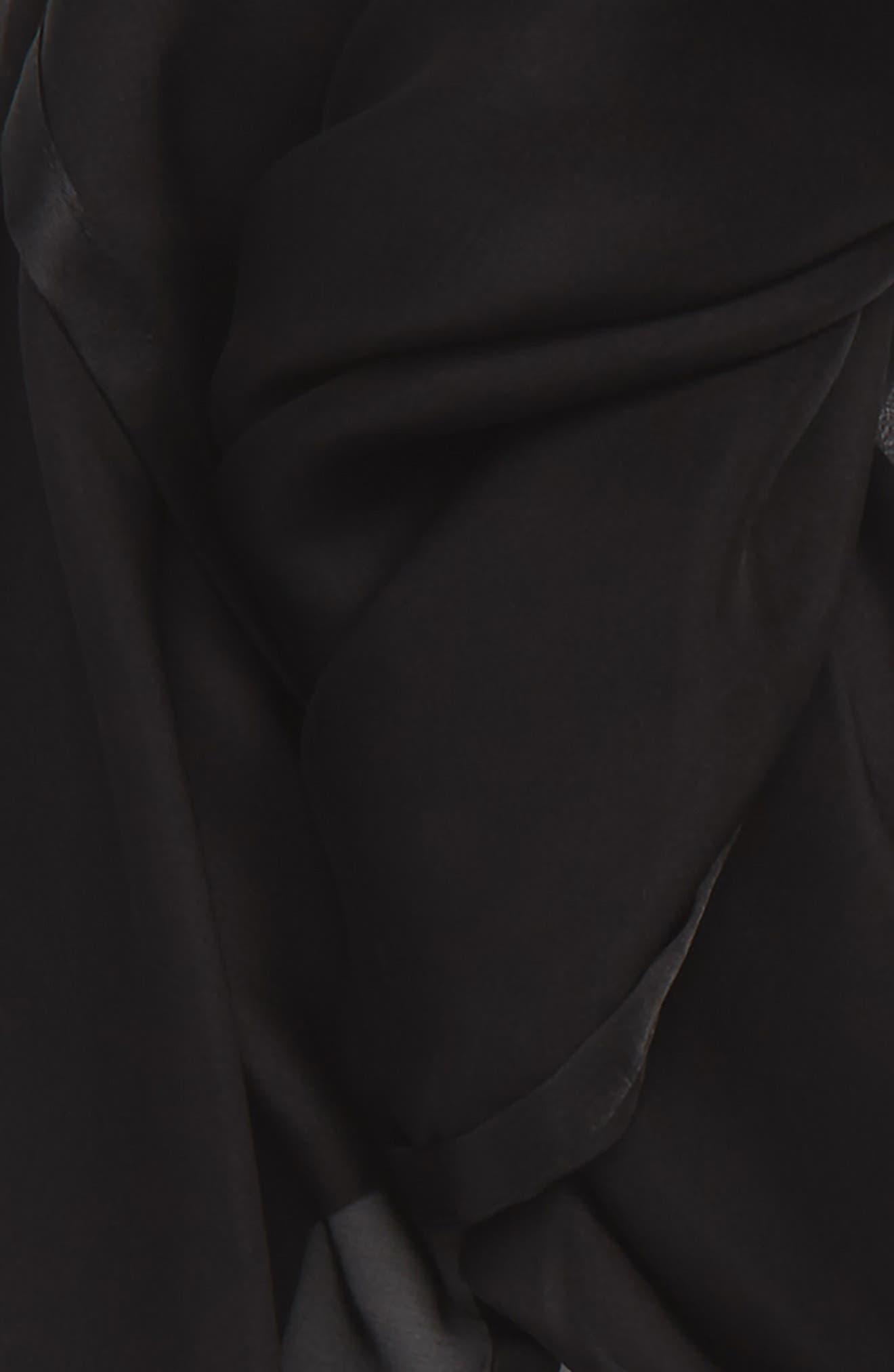 Satin Border Silk Chiffon Scarf,                             Alternate thumbnail 3, color,                             BLACK