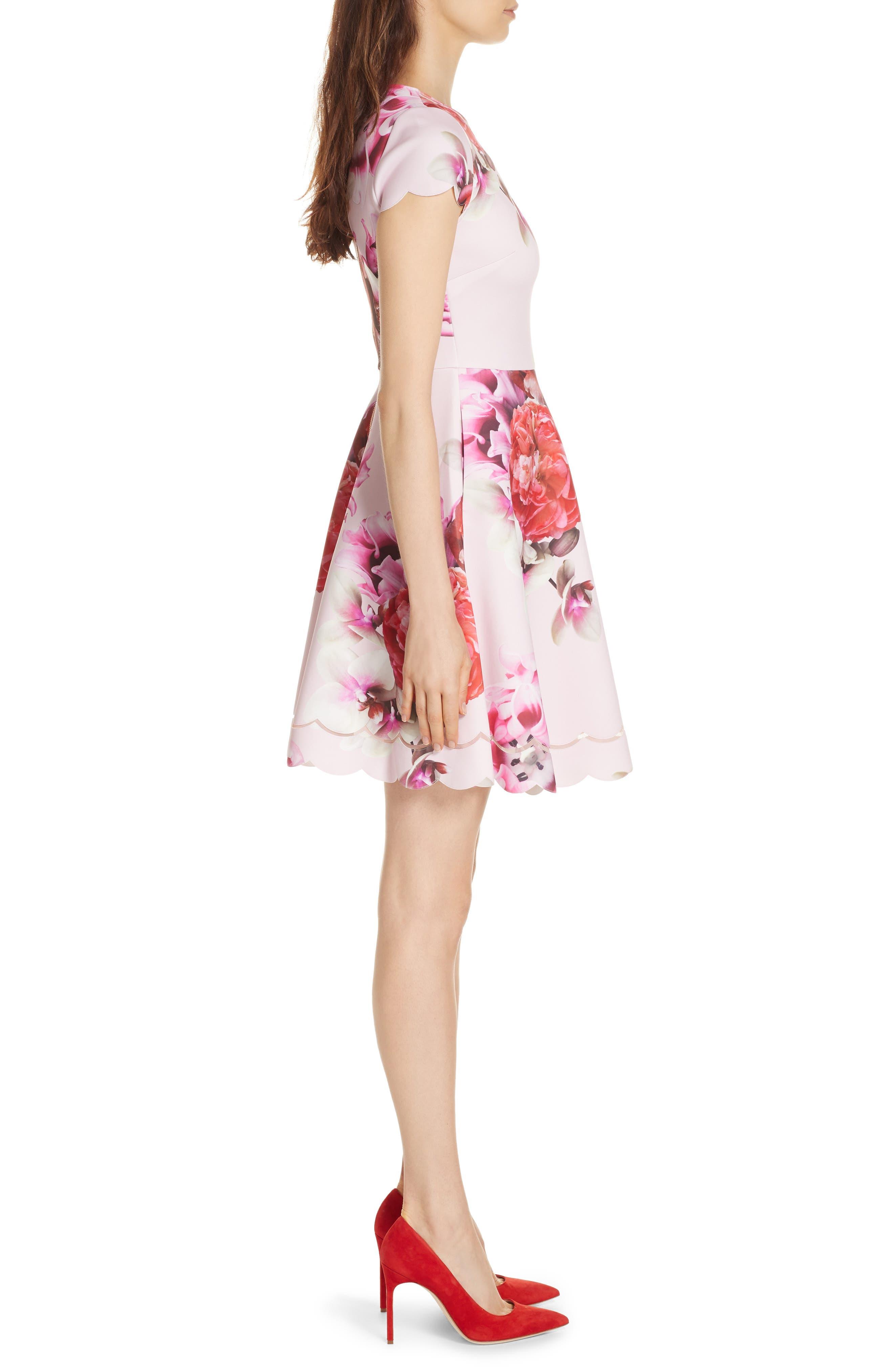 Seeana Splendour Skater Dress,                             Alternate thumbnail 3, color,                             683
