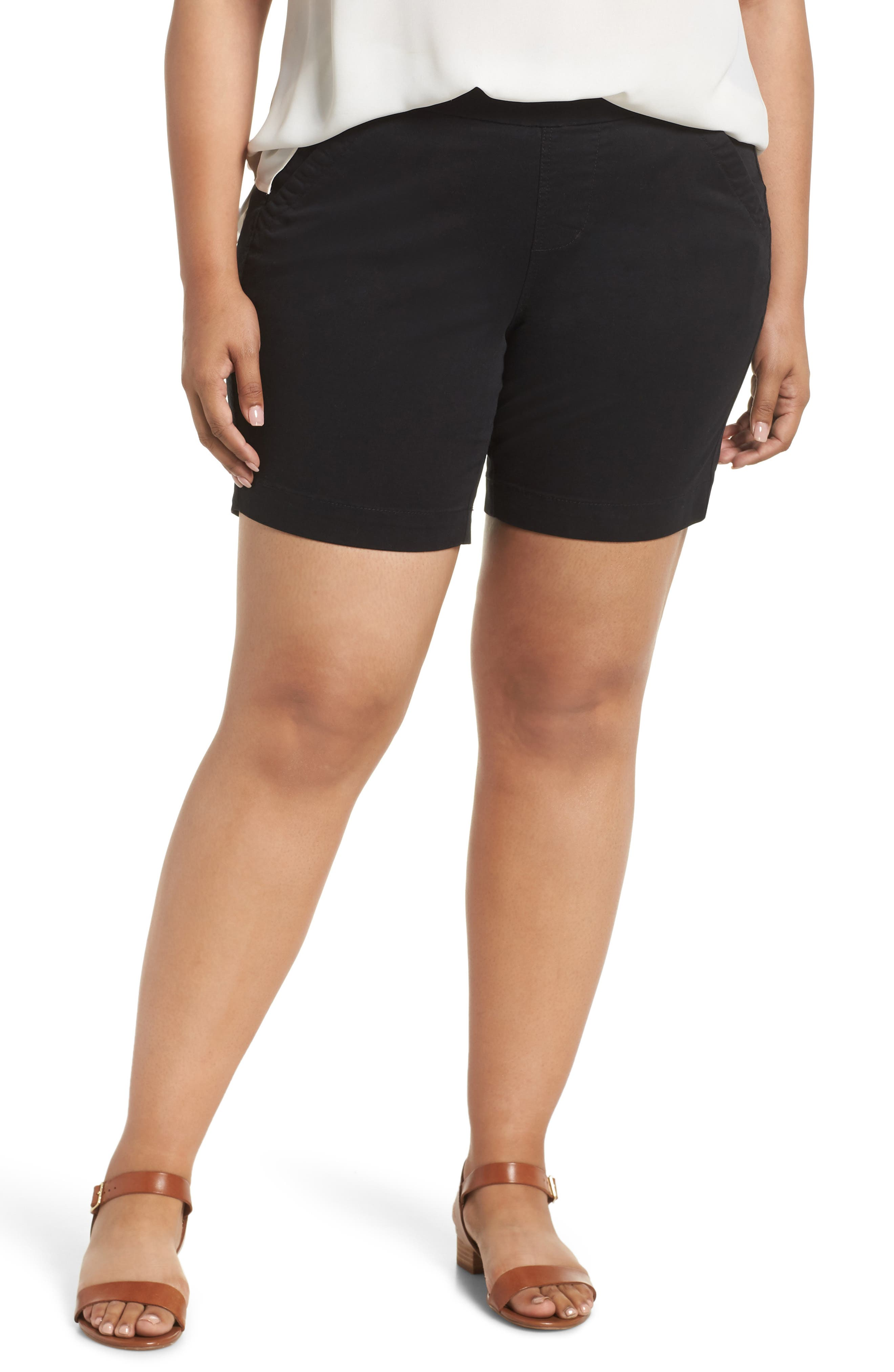 Gracie Stretch Cotton Shorts,                         Main,                         color, BLACK