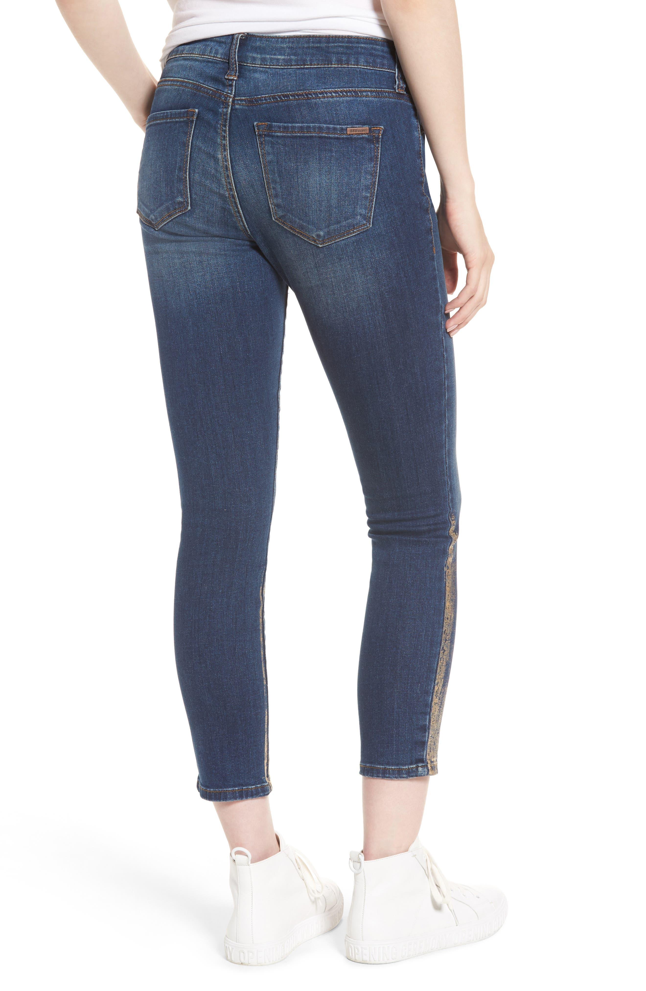 Piper Foil Crop Skinny Jeans,                             Alternate thumbnail 2, color,                             400