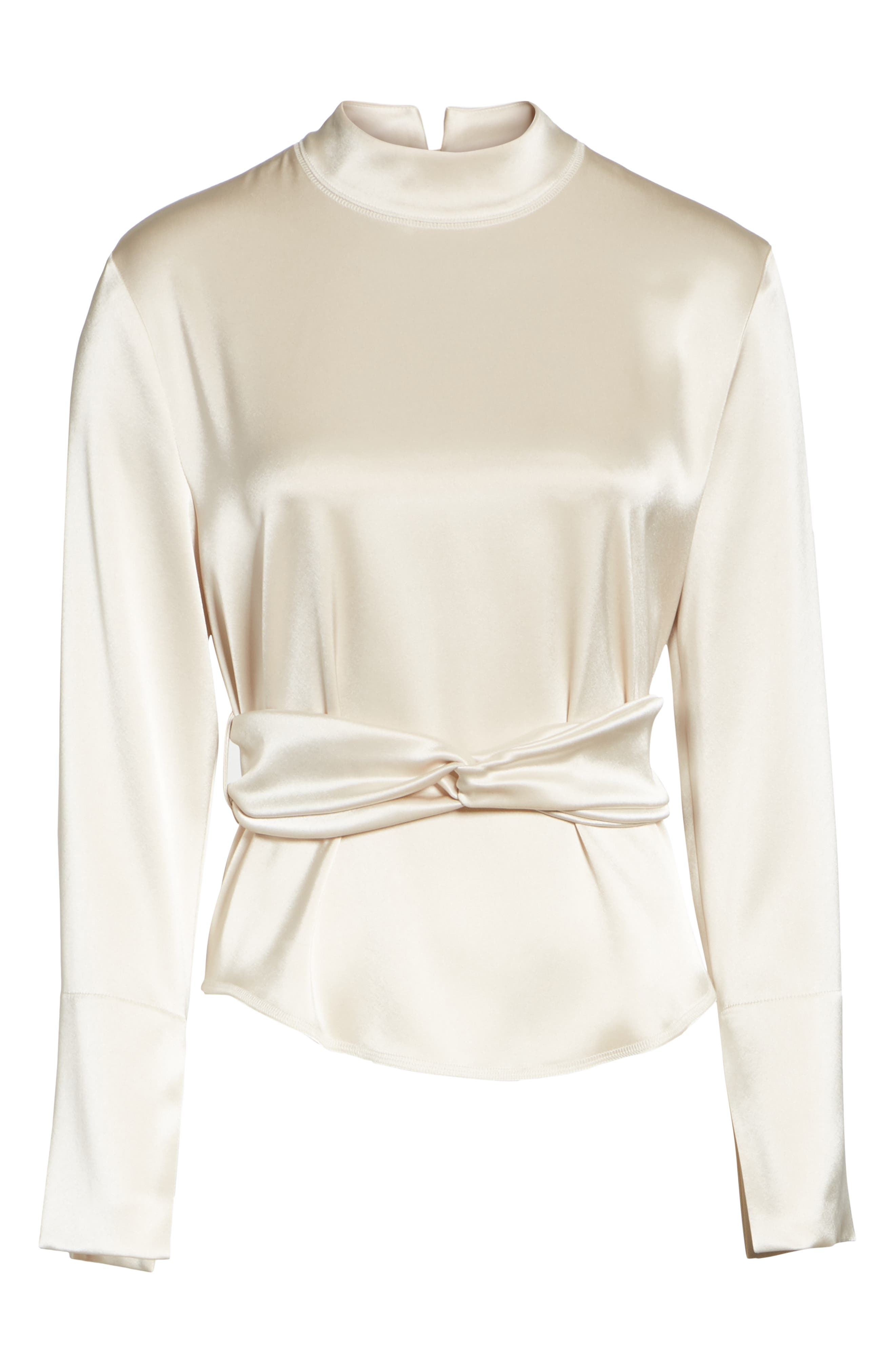 Almond Belted Satin Blouse,                             Alternate thumbnail 6, color,                             271