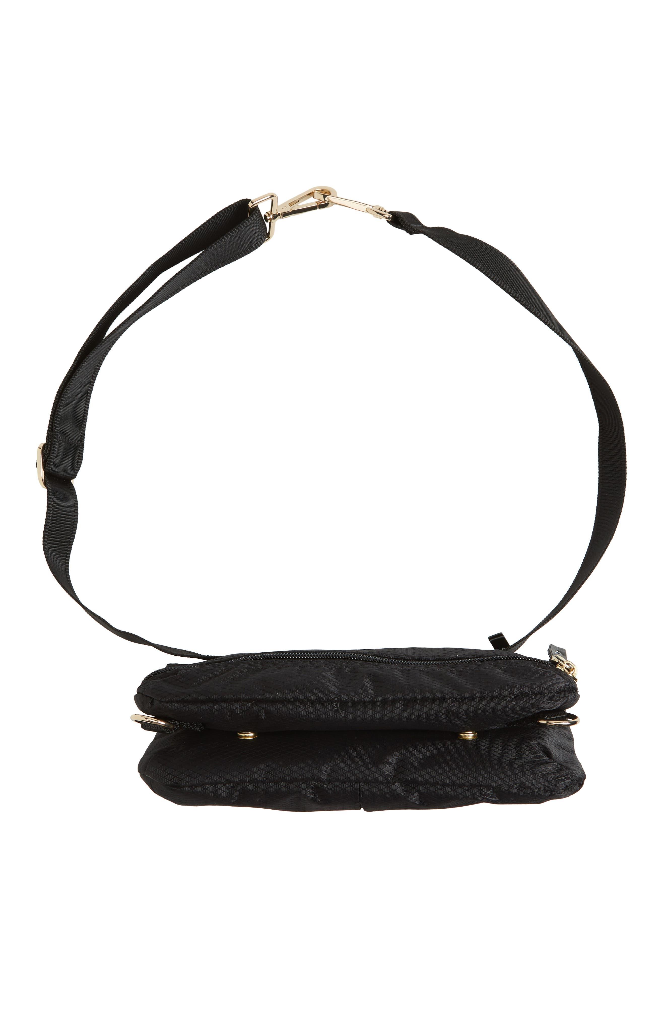 Go Black Expandable Belt Bag,                             Alternate thumbnail 8, color,                             BLACK