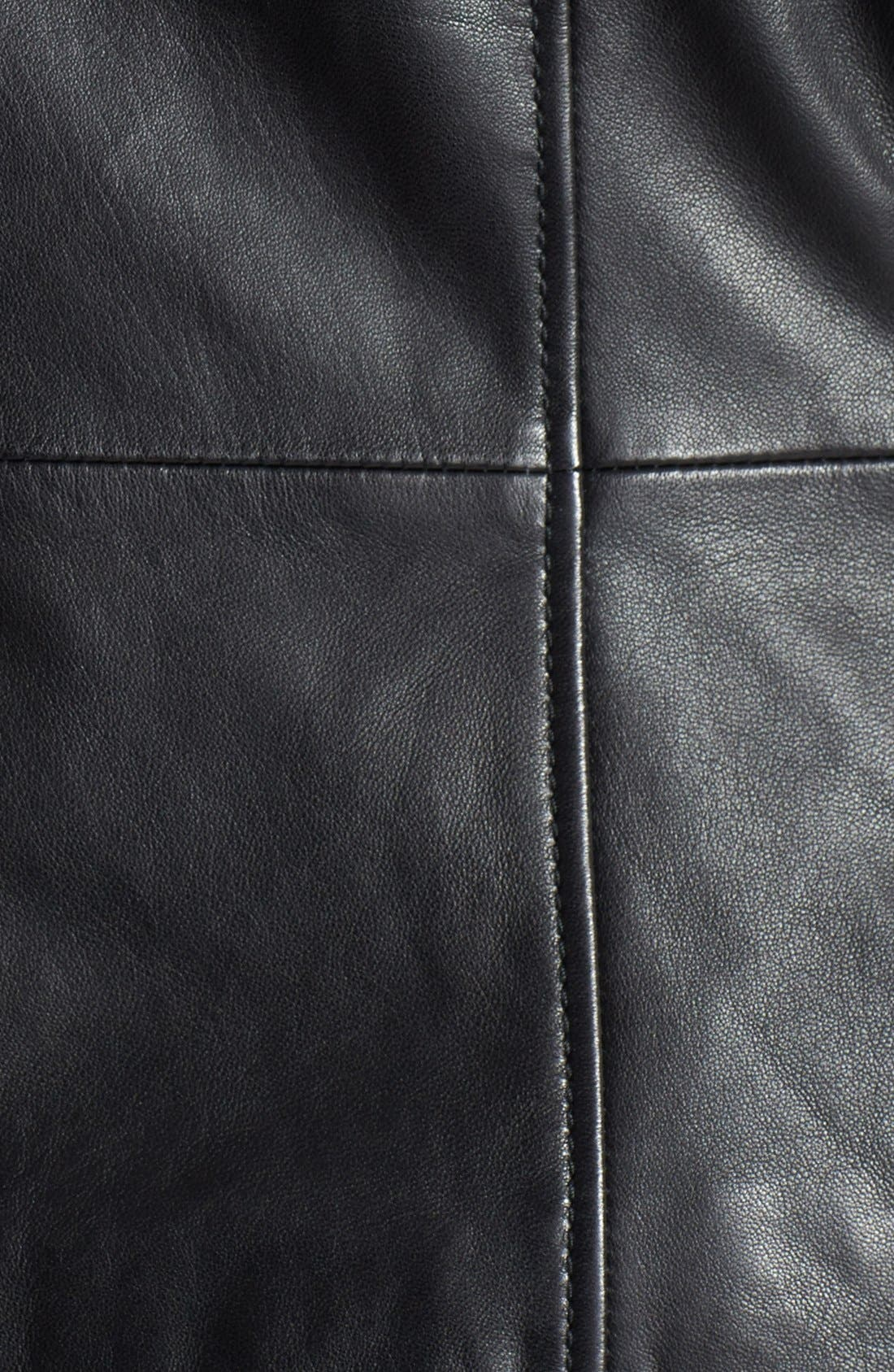 Waterfall Front Leather Jacket,                             Alternate thumbnail 5, color,