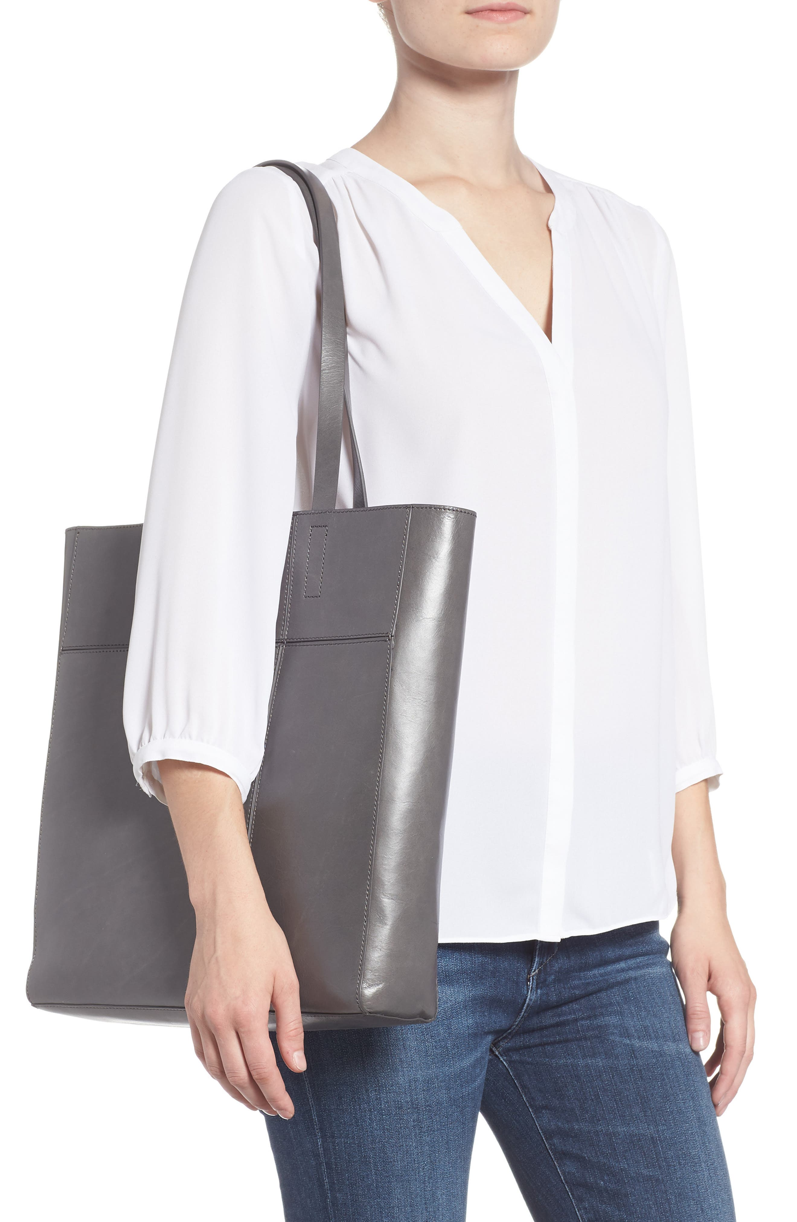 Andi Leather Tote,                             Alternate thumbnail 2, color,                             GREY MONUMENT