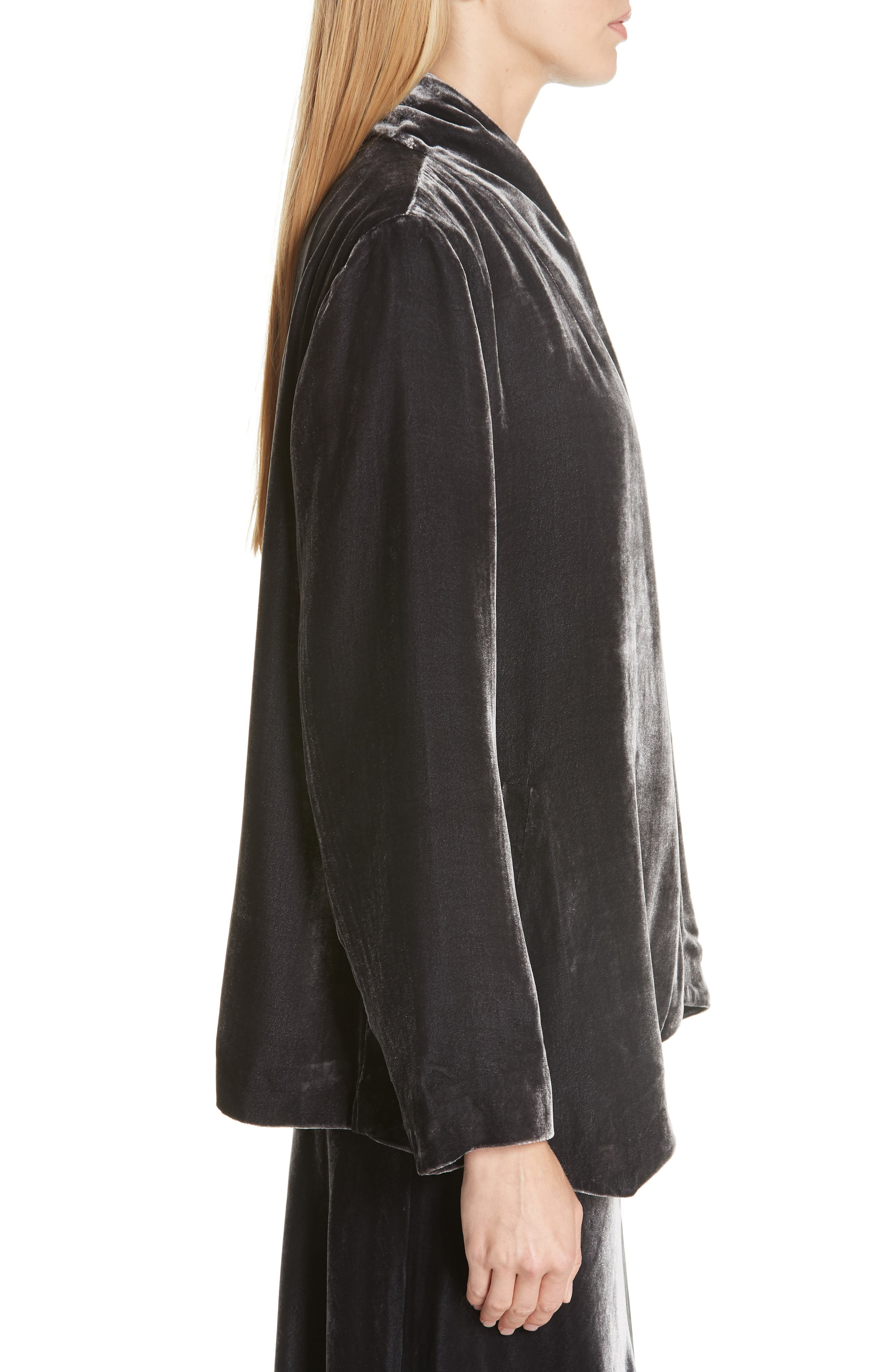 Angled Front Velvet Jacket,                             Alternate thumbnail 3, color,                             CHARCOAL