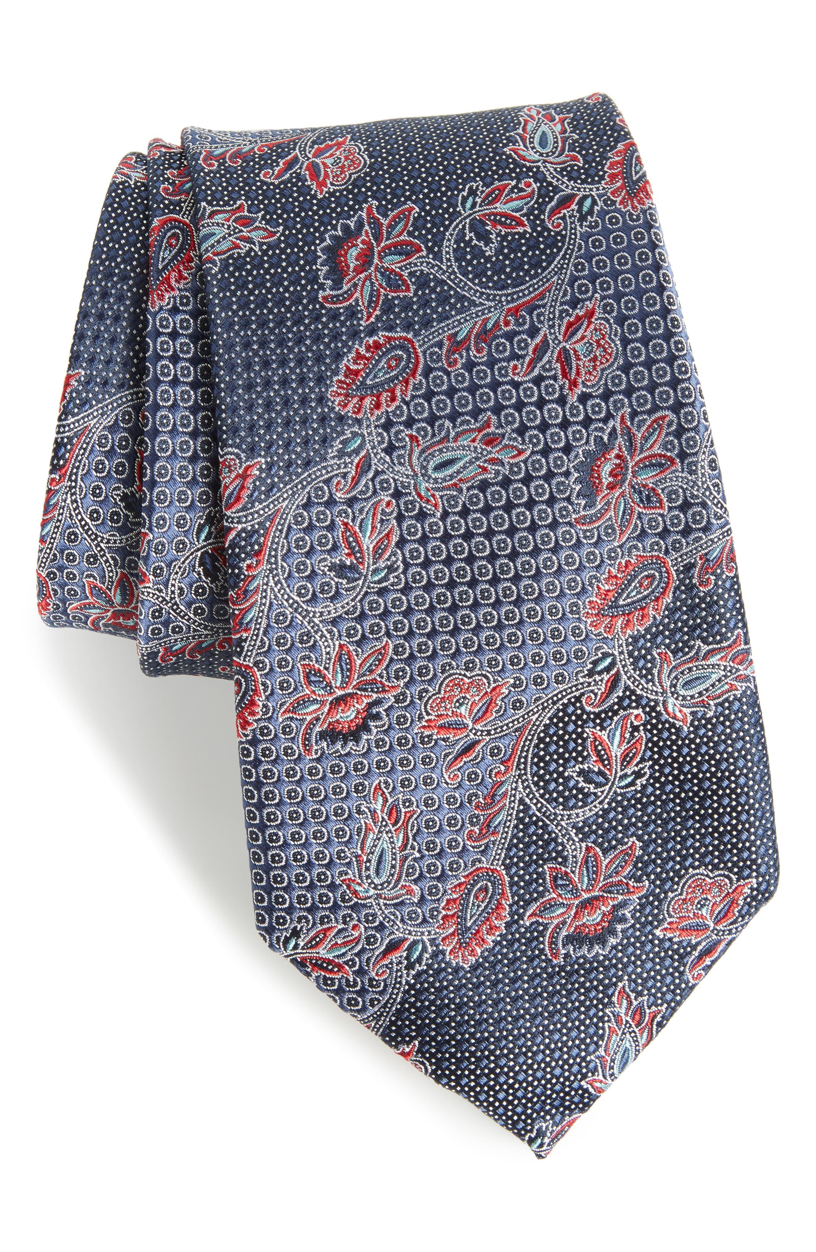 Demarco Floral Silk Tie,                         Main,                         color, 410
