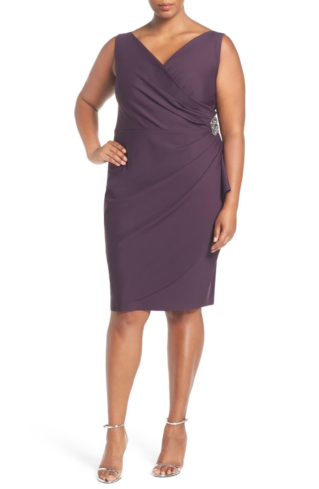 Embellished Surplice Sheath Dress,                             Main thumbnail 5, color,