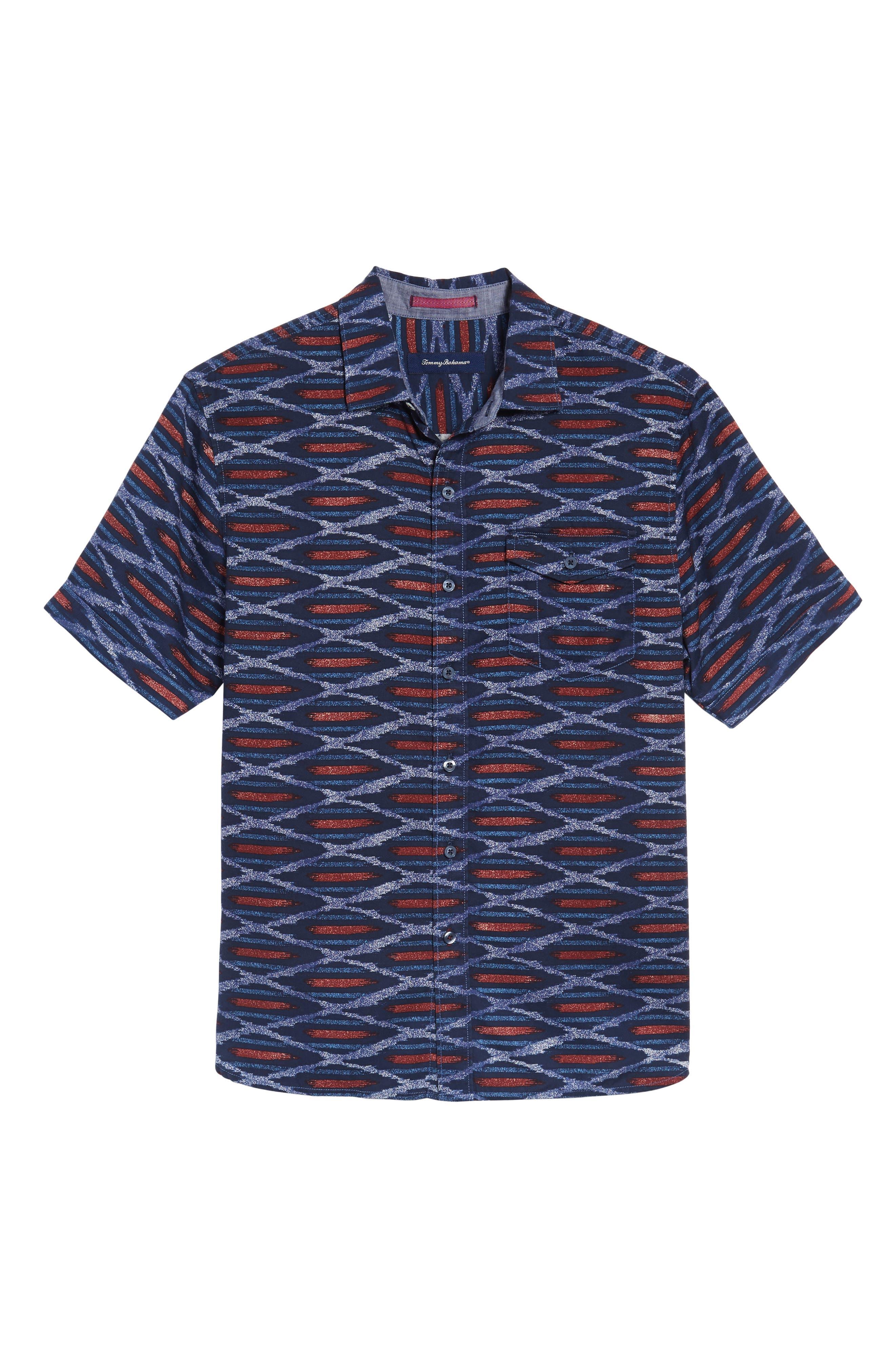 Island Ikat Standard Fit Geo Print Woven Shirt,                             Alternate thumbnail 6, color,                             401