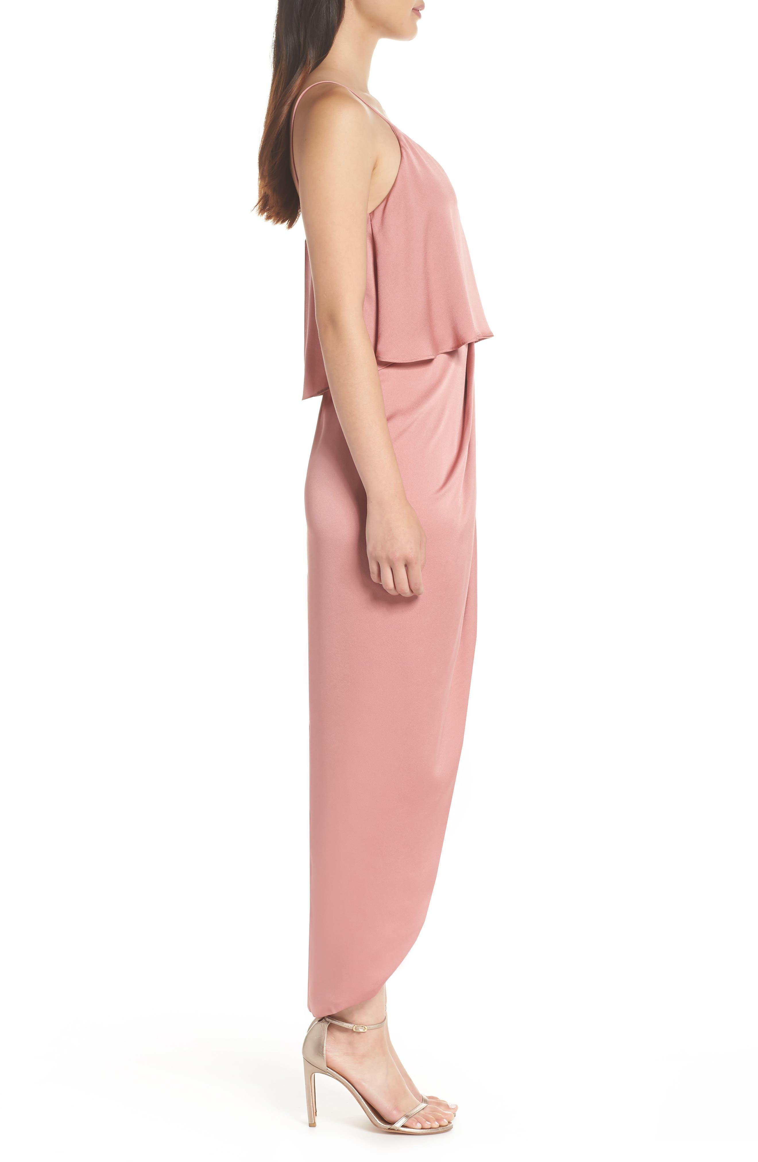 Luxe Frill Tulip Hem Maxi Dress,                             Alternate thumbnail 3, color,                             ROSE