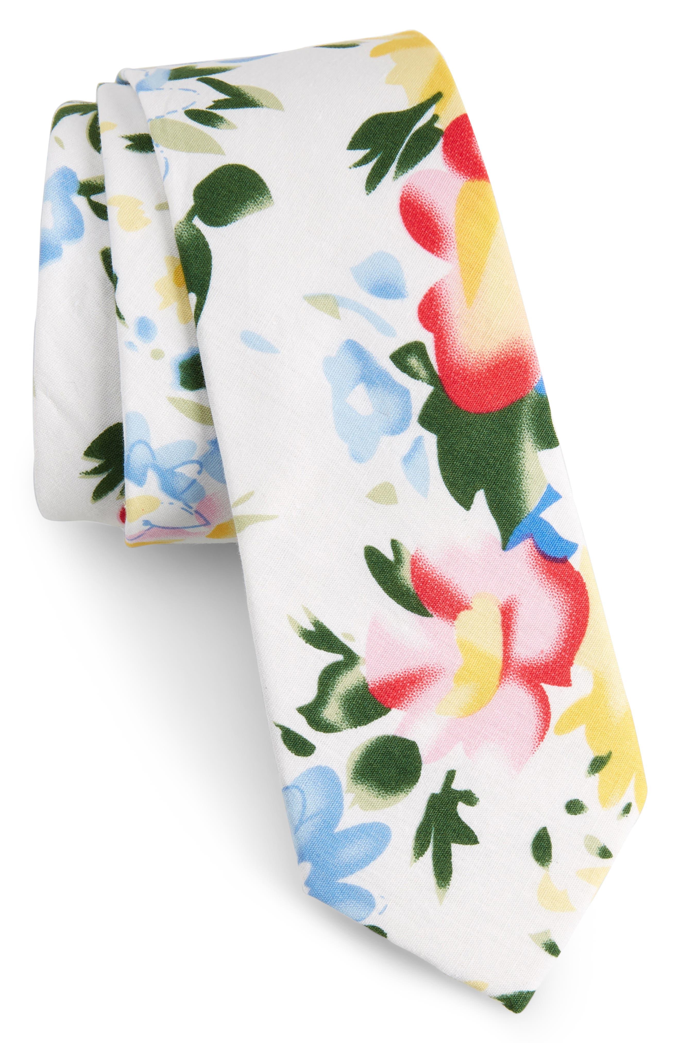 Hatfield Floral Cotton Skinny Tie,                             Main thumbnail 1, color,