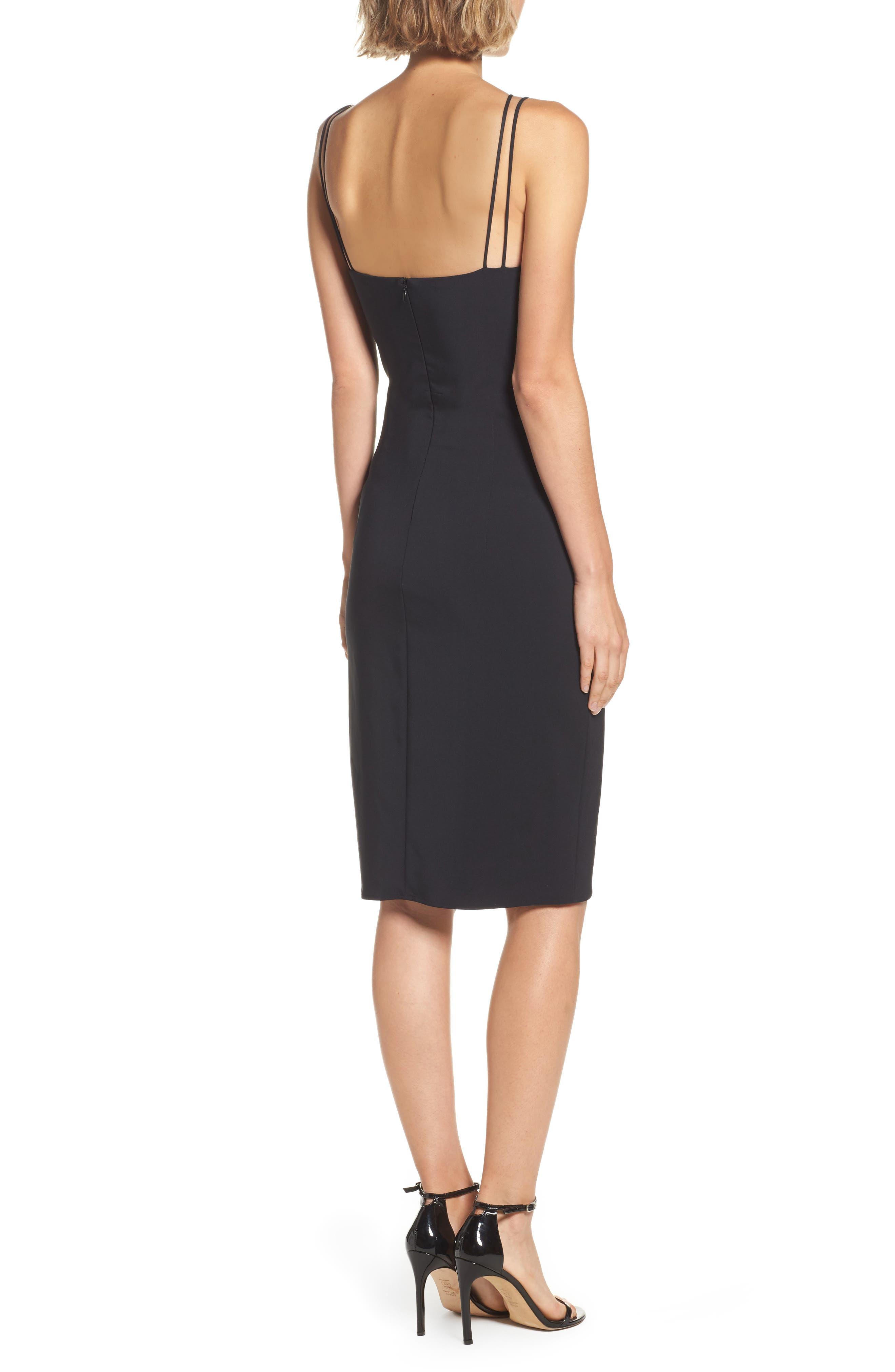 Lace Front Sheath Dress,                             Alternate thumbnail 3, color,                             001