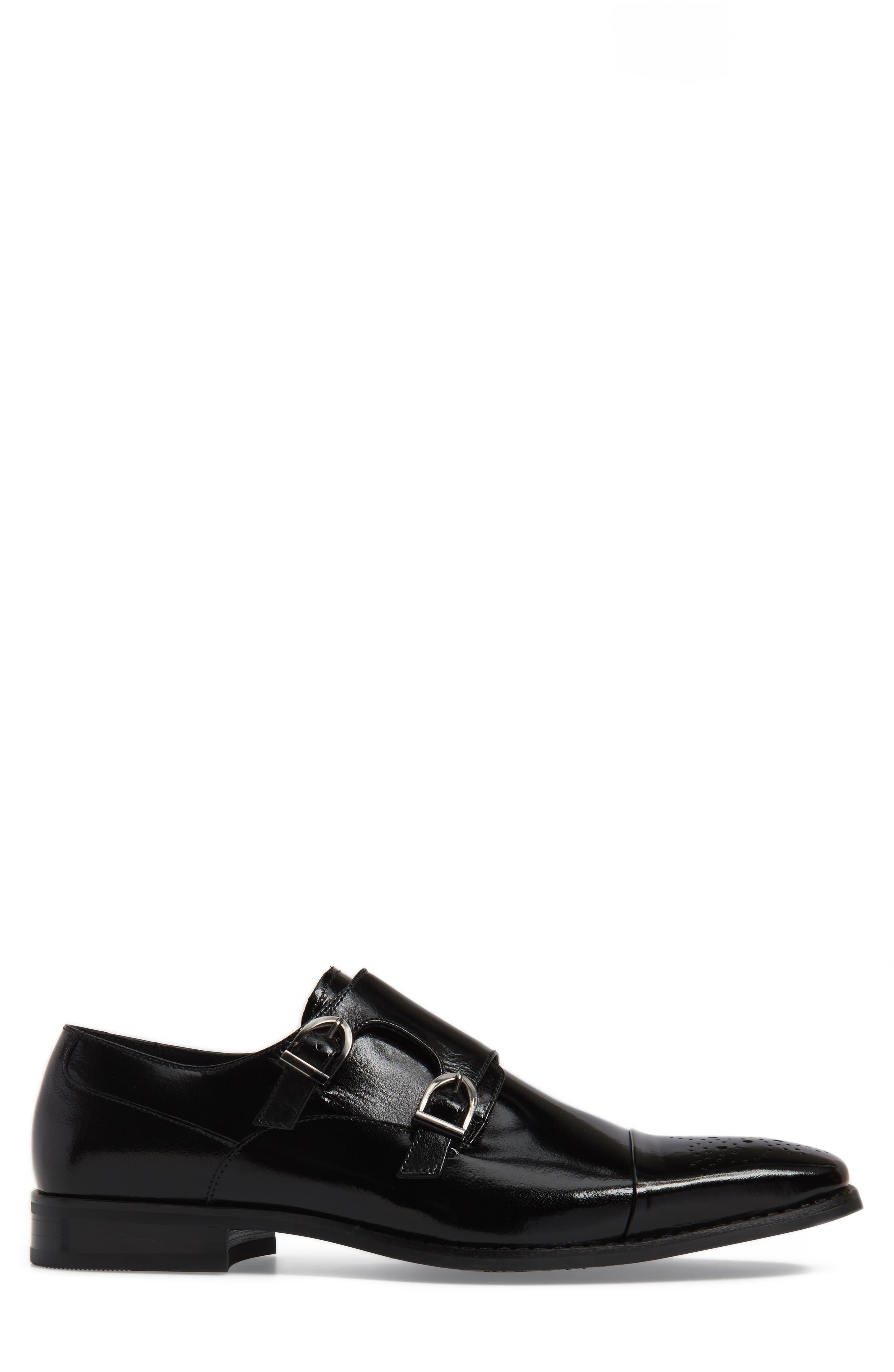 Trevor Double Monk Strap Shoe,                             Alternate thumbnail 3, color,                             001