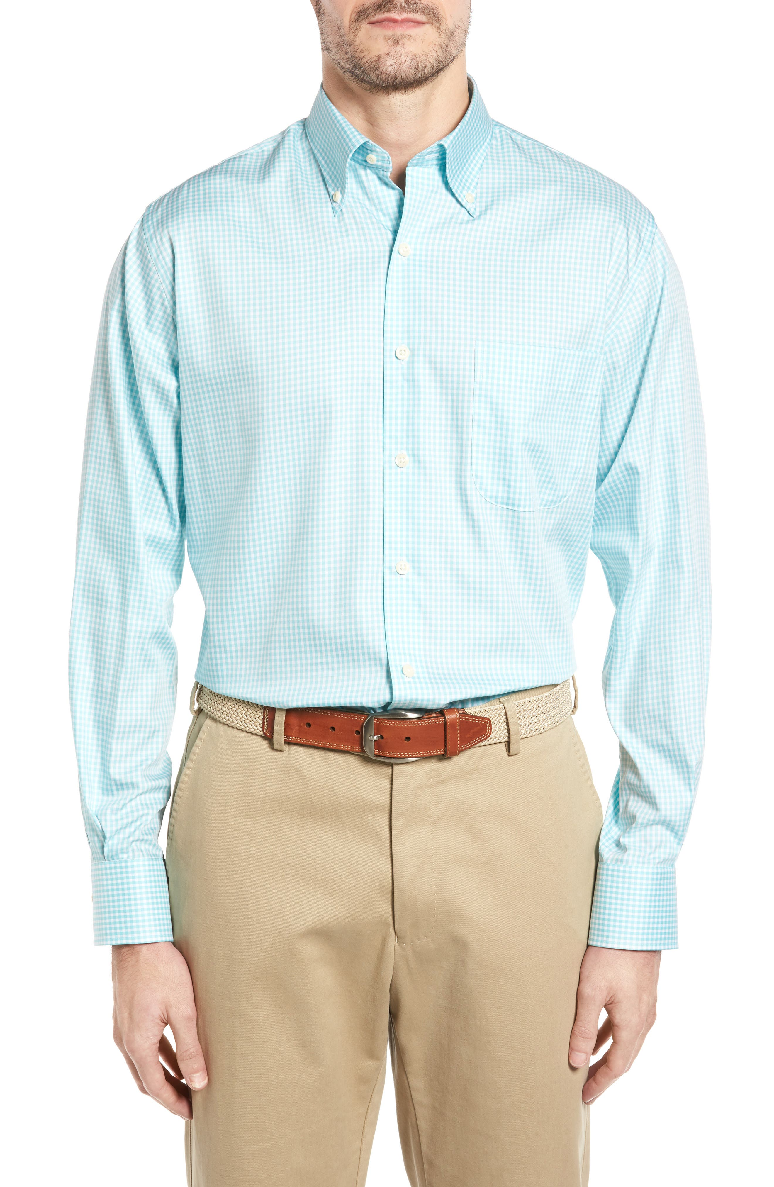 Crown Soft Gingham Regular Fit Sport Shirt,                             Main thumbnail 3, color,