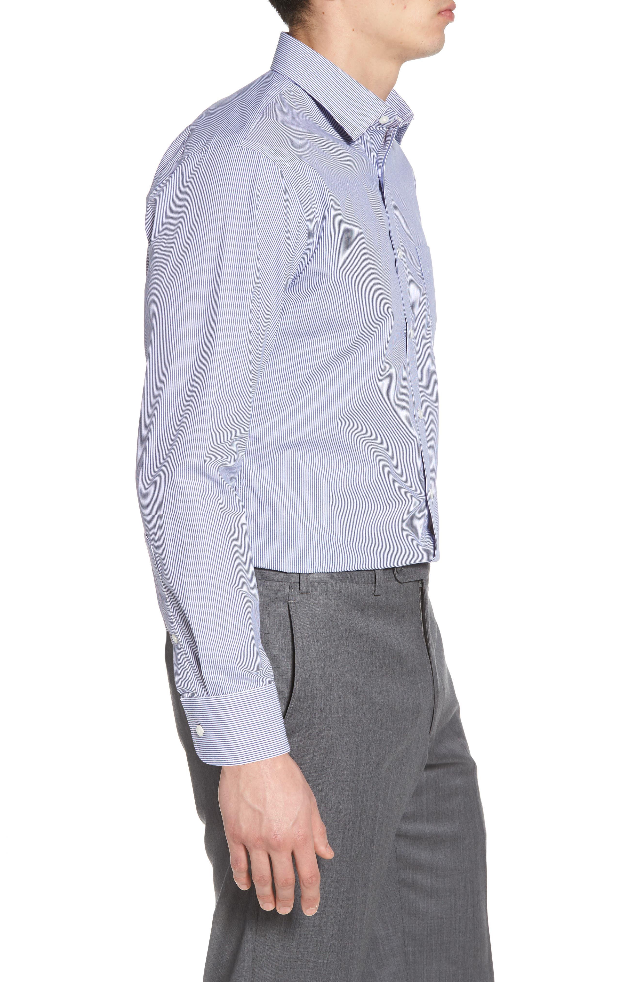 Trim Fit Non-Iron Stripe Dress Shirt,                             Alternate thumbnail 20, color,