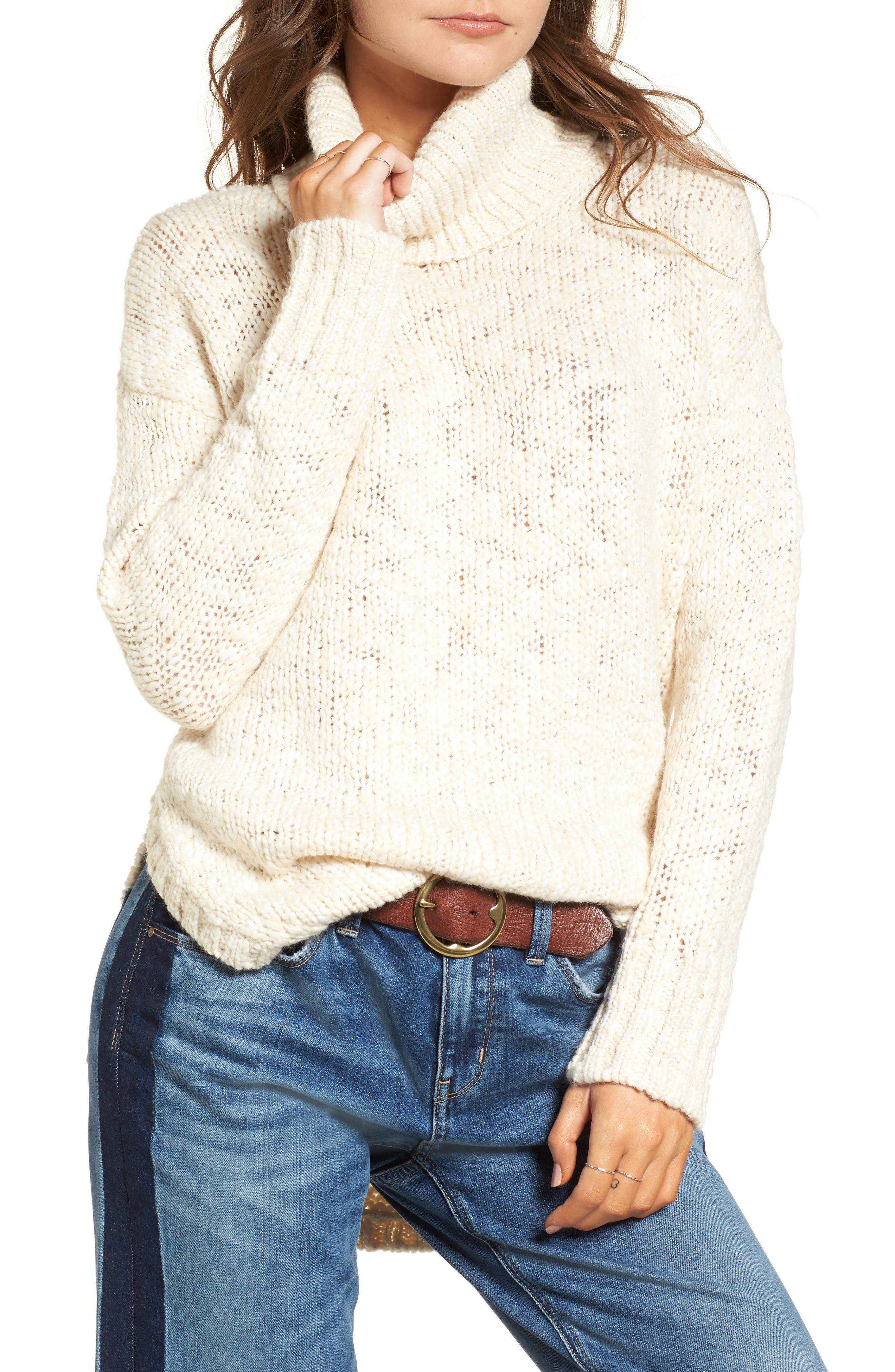 Treasure&Bond Turtleneck Sweater,                             Main thumbnail 1, color,                             BEIGE BEACH COMBO