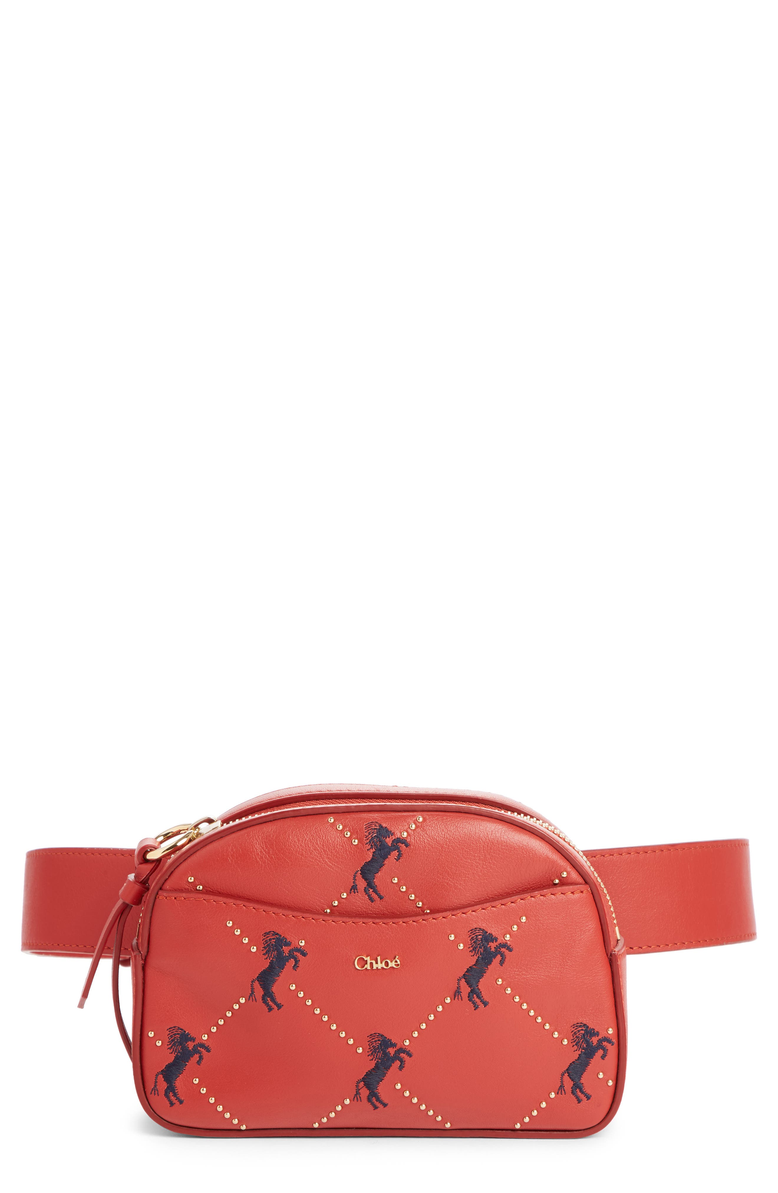 Embroidered Horse Leather Belt Bag,                             Main thumbnail 1, color,                             EARTHY RED