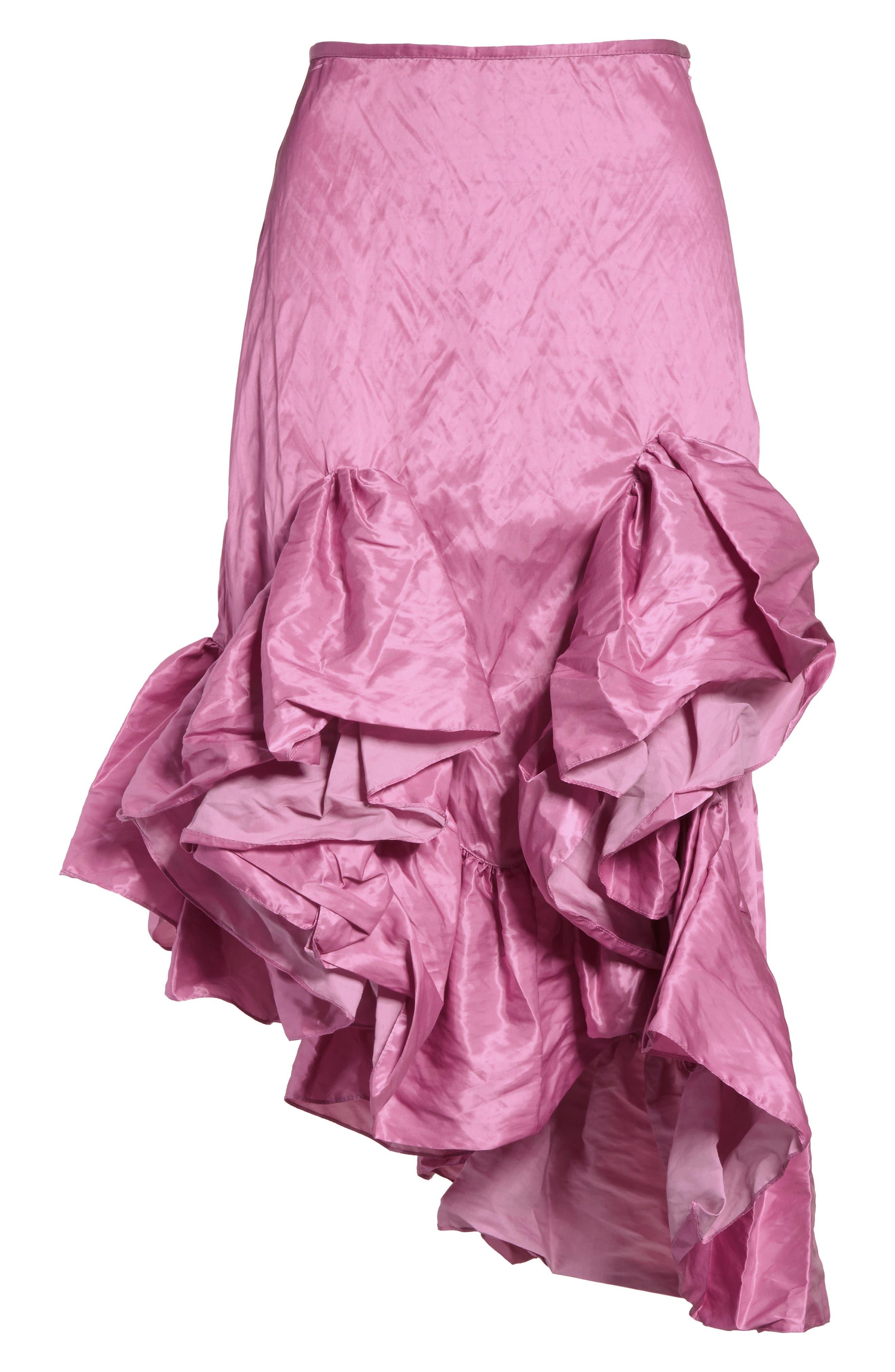 Marques'Almeida Asymmetrical Ruffle Taffeta Skirt,                             Alternate thumbnail 6, color,                             650