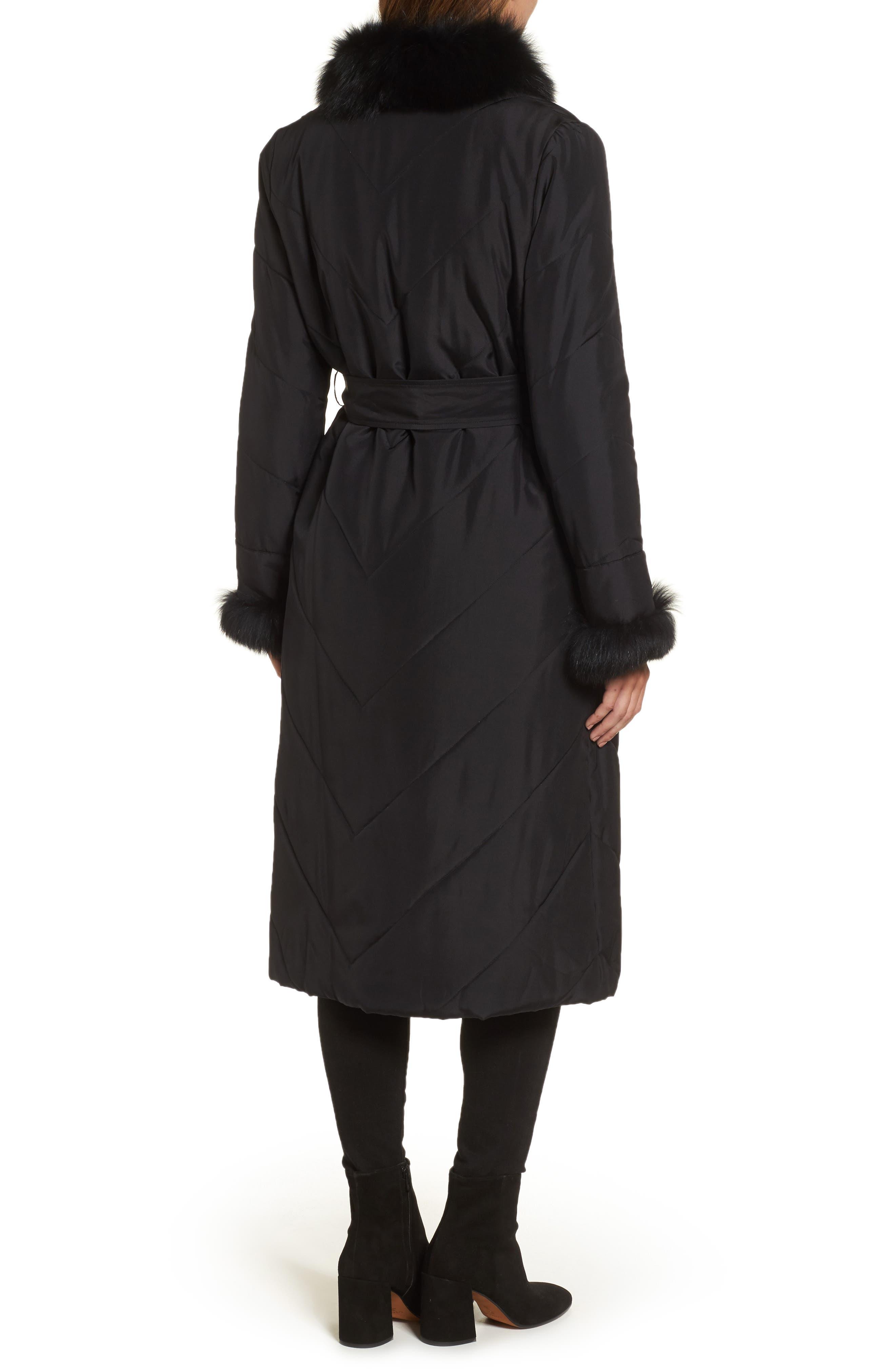 Couture Packable Silk Coat with Genuine Fox Fur & Genuine Rabbit Fur,                             Alternate thumbnail 2, color,                             001
