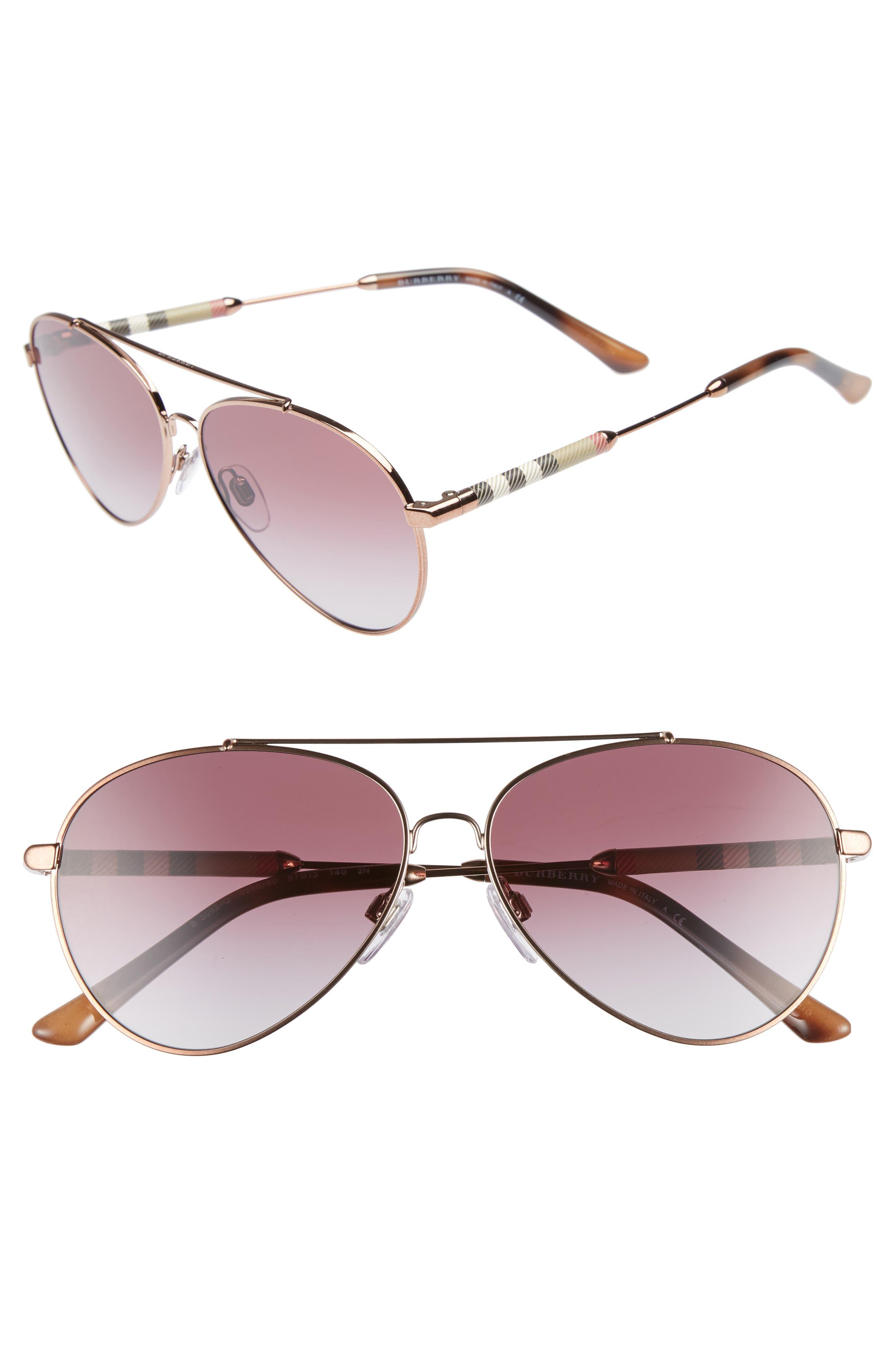 57mm Mirrored Aviator Sunglasses,                         Main,                         color, VIOLET GRADIENT