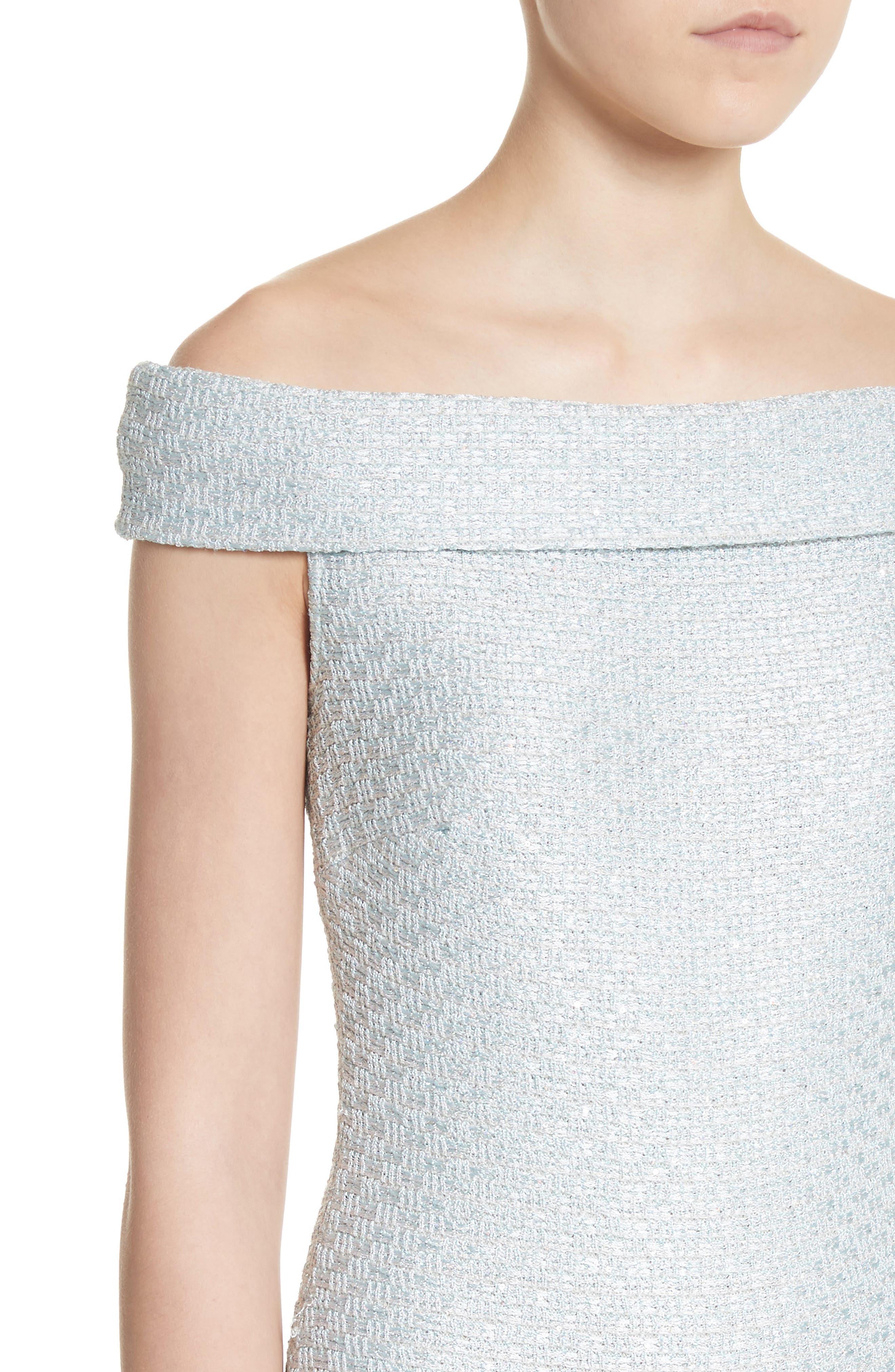 Hansh Sequin Knit Off the Shoulder Gown,                             Alternate thumbnail 4, color,                             MINT