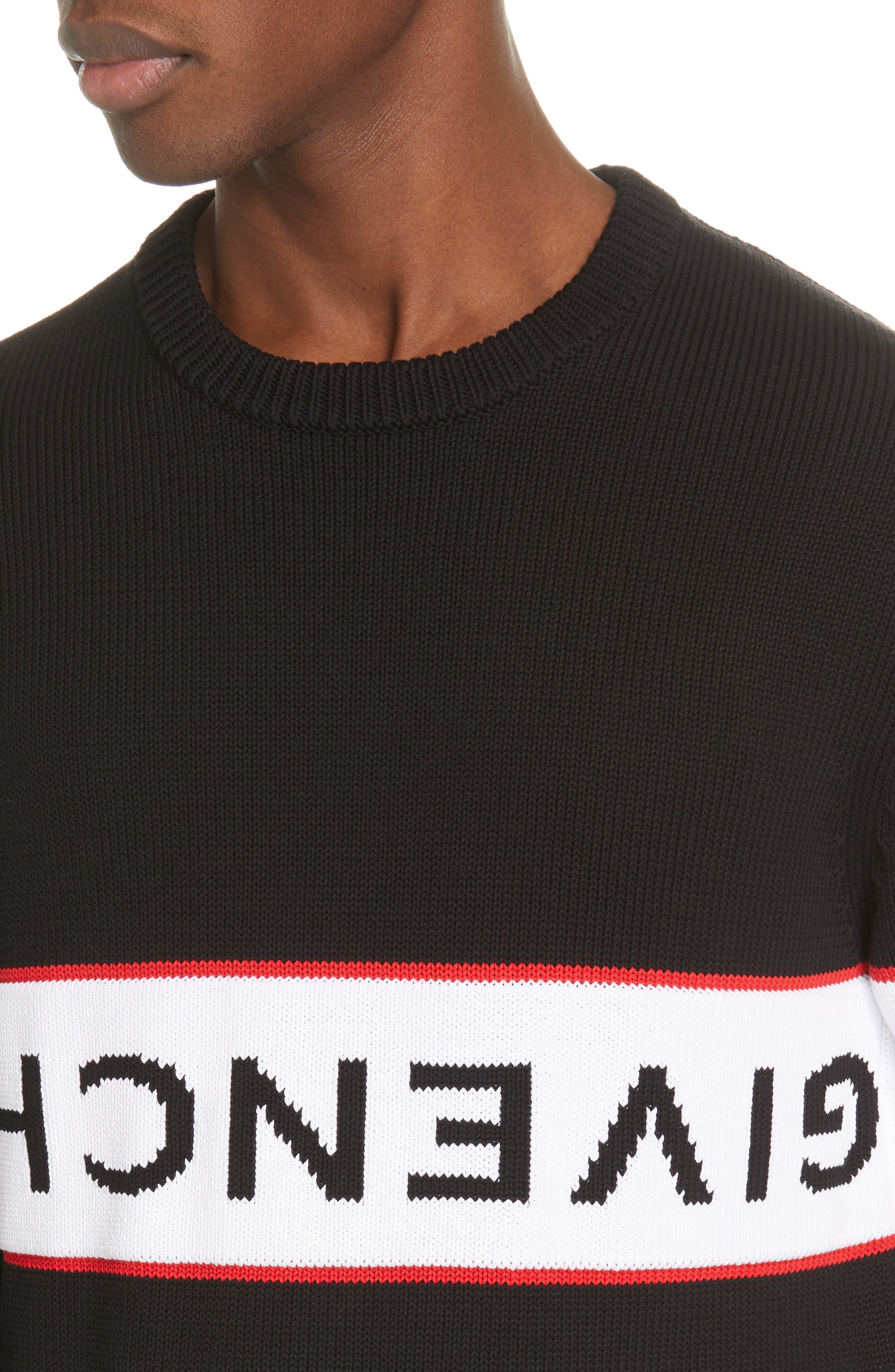 Upside Down Logo Sweater,                             Alternate thumbnail 4, color,                             BLACK