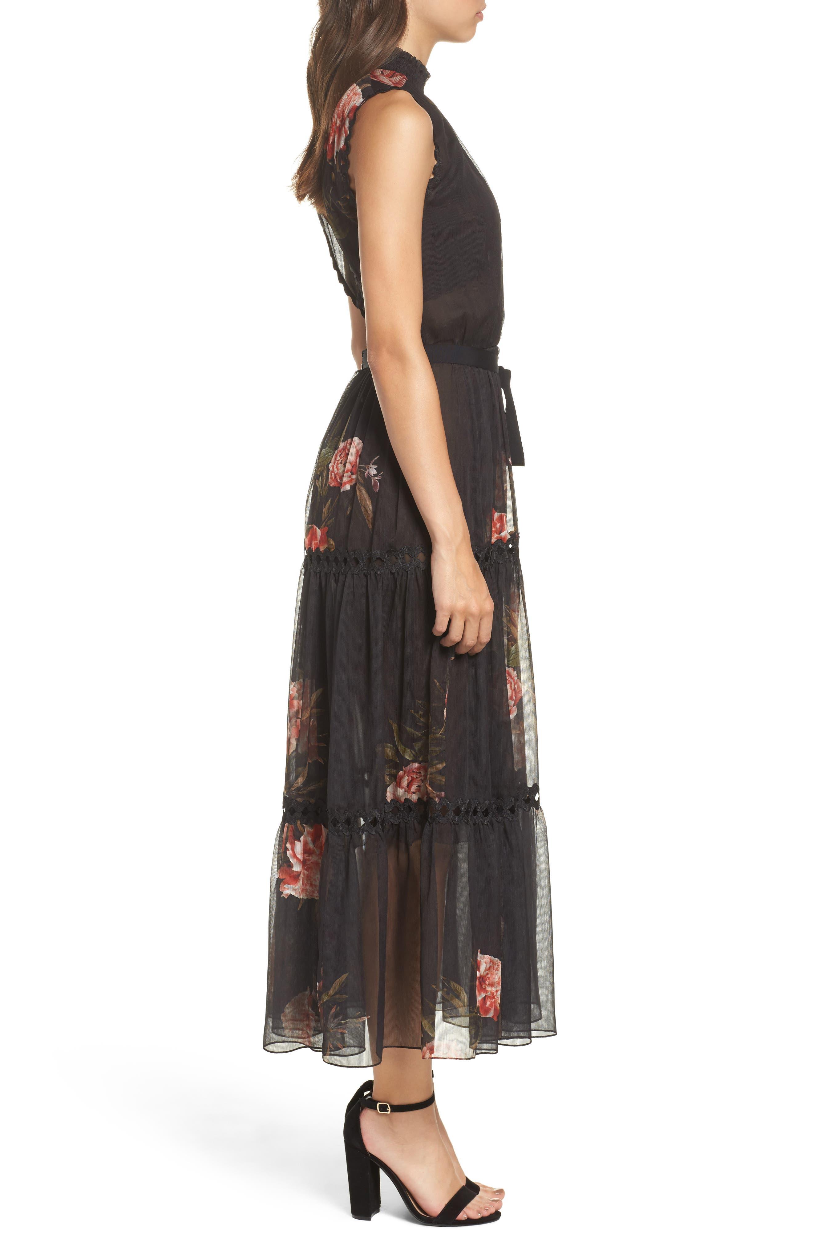 Noir Rana Smocked Neck Midi Dress,                             Alternate thumbnail 3, color,                             001