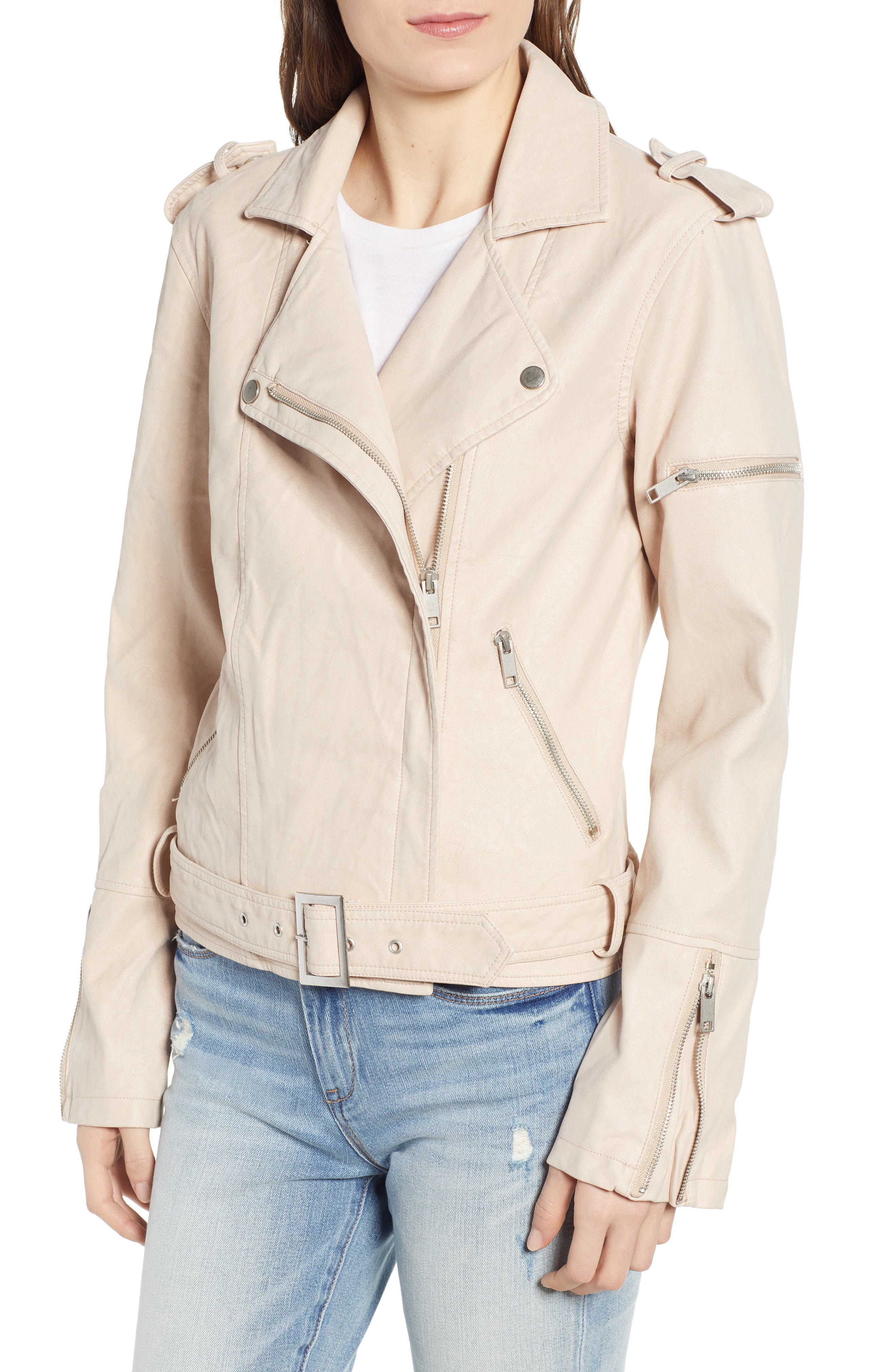 THREAD & SUPPLY,                             Mitch Faux Leather Moto Jacket,                             Main thumbnail 1, color,                             BLUSHING PINK
