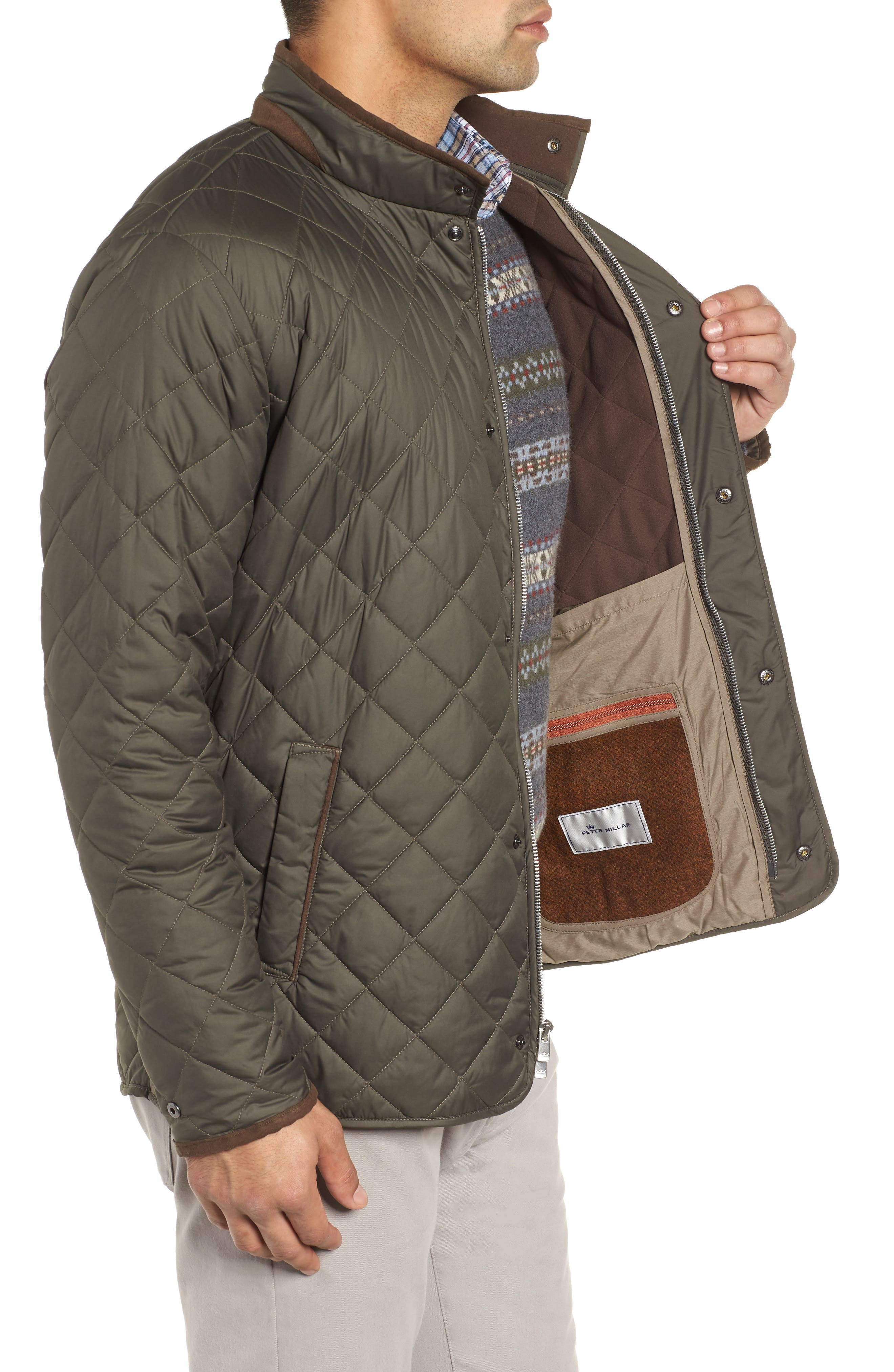 Suffolk Quilted Water-Resistant Car Coat,                             Alternate thumbnail 3, color,                             OLIVE
