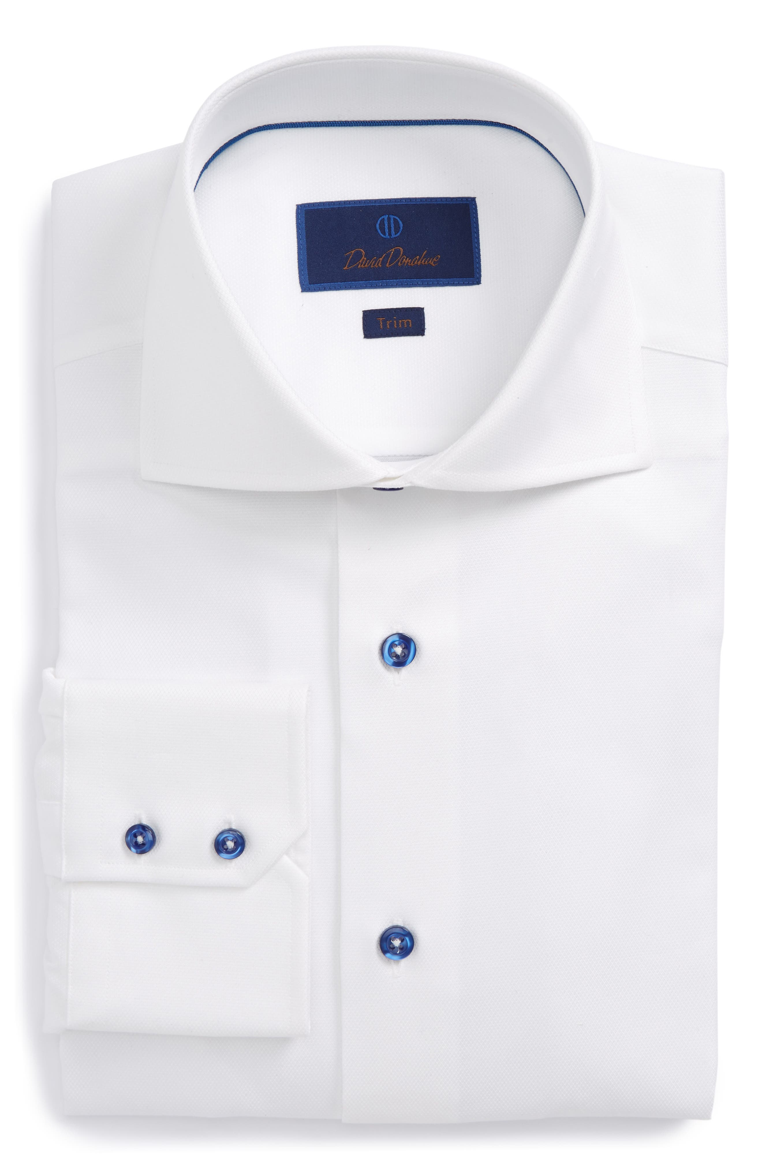 Trim Fit Diamond Weave Dress Shirt,                         Main,                         color, WHITE