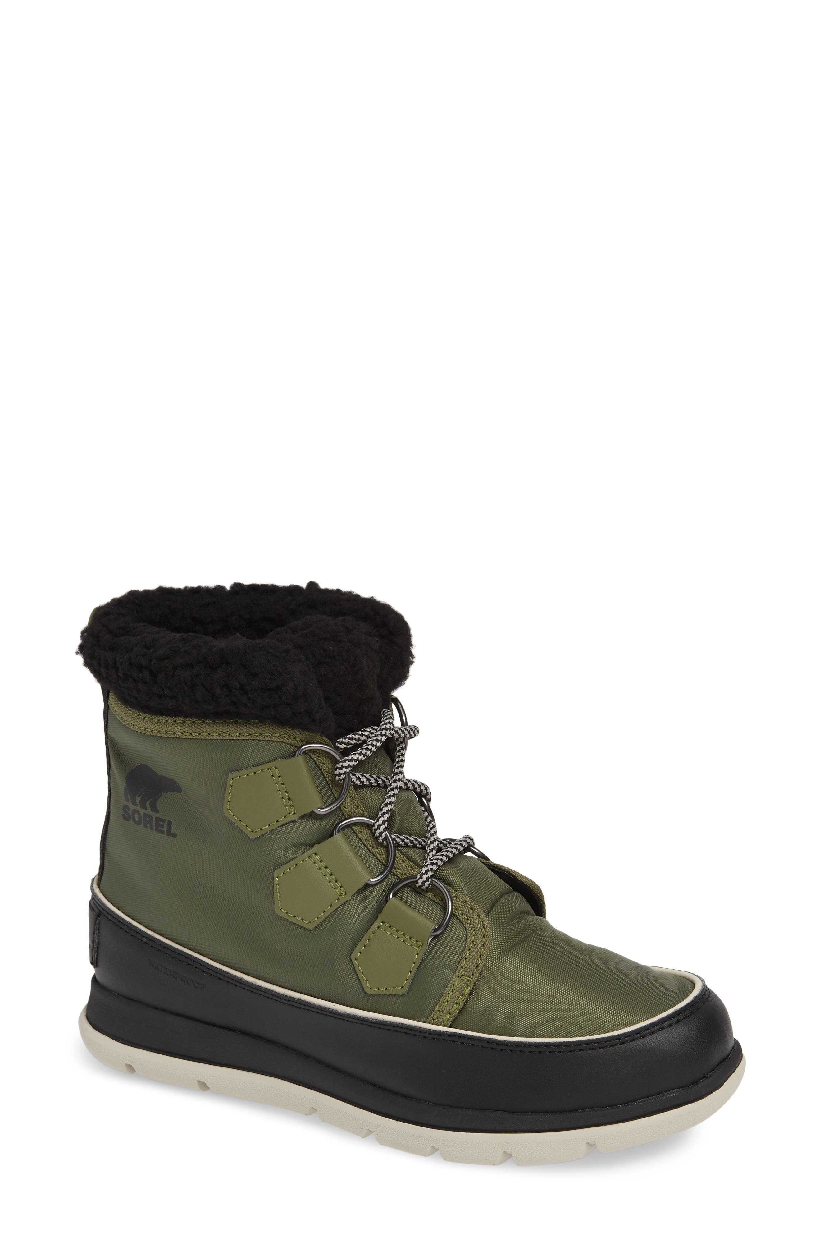 Explorer Carnival Waterproof Boot with Faux Fur Collar,                             Main thumbnail 1, color,                             HIKER GREEN