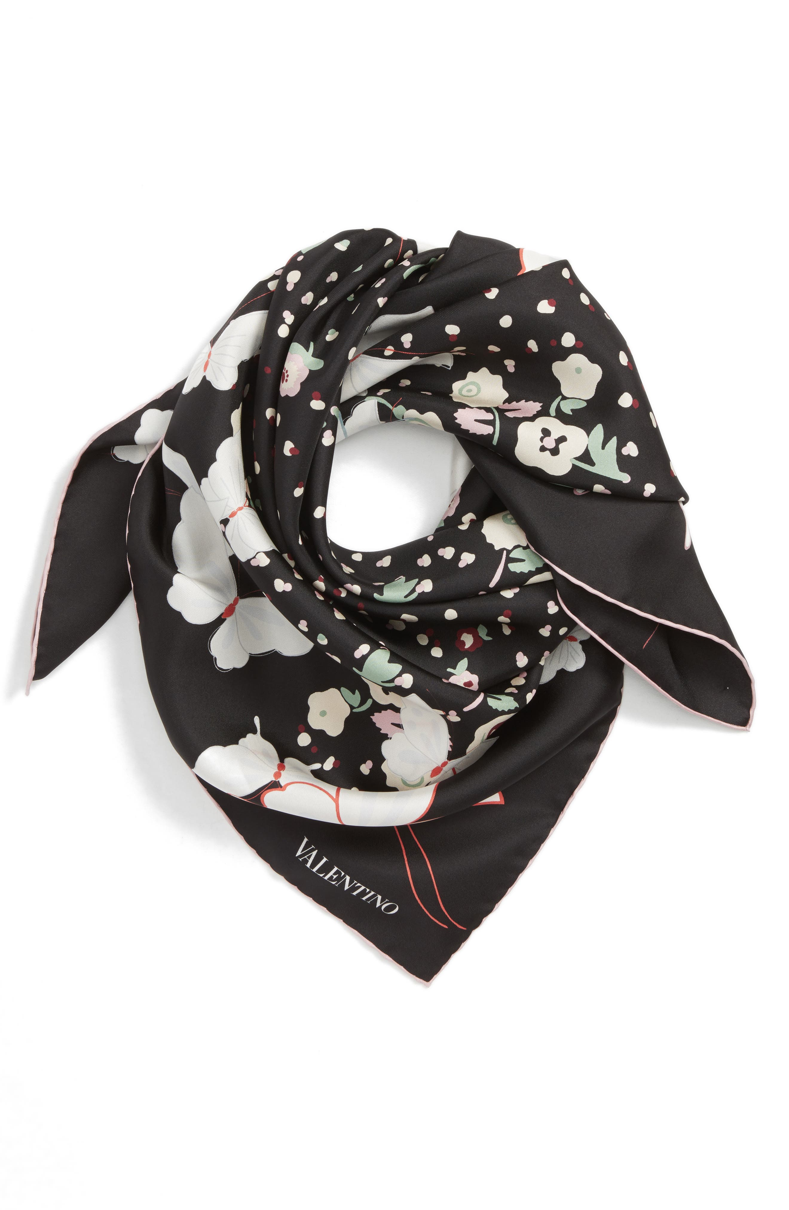 Butterfly Silk Scarf,                             Alternate thumbnail 2, color,                             001
