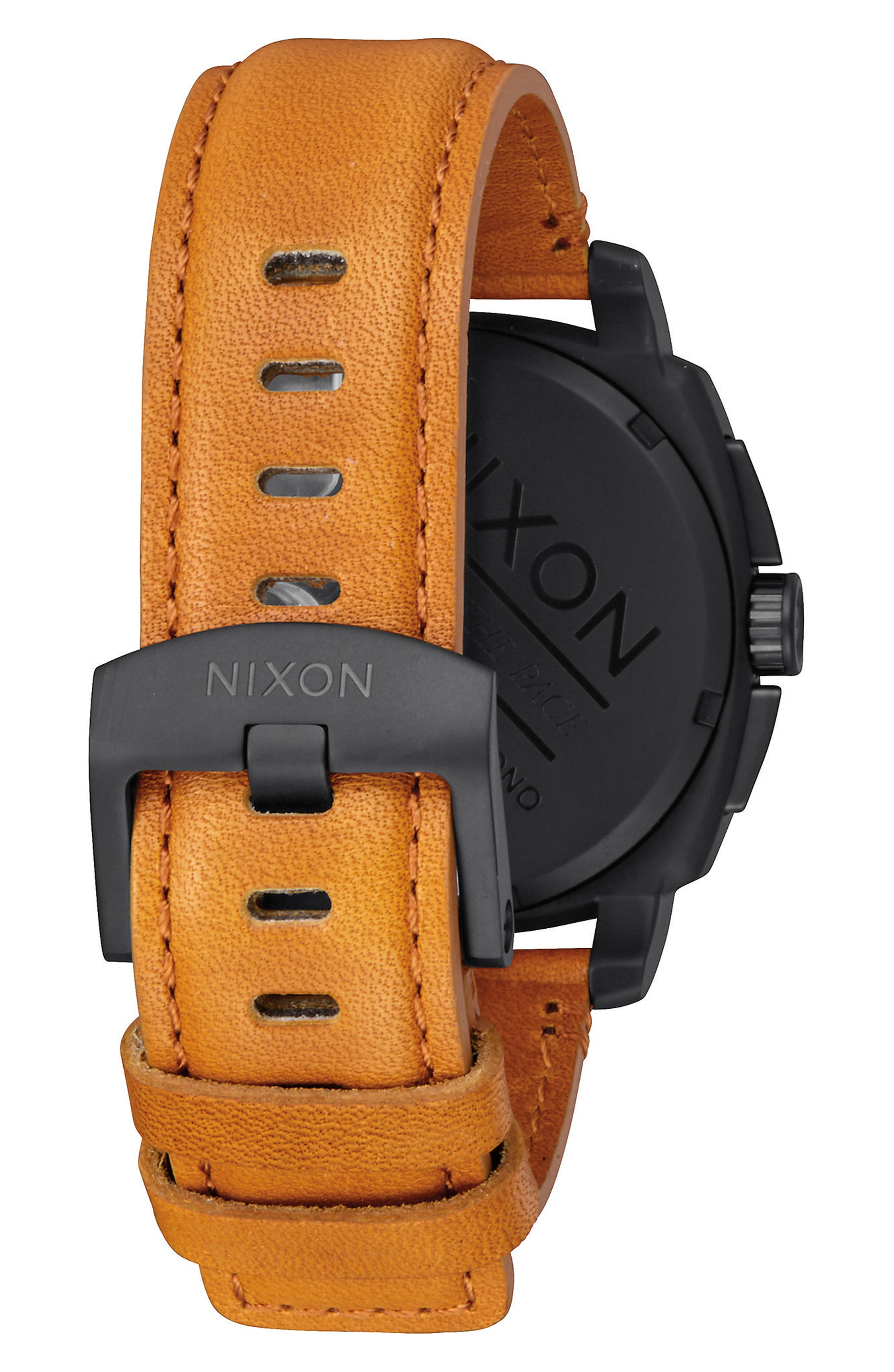 Charger Chronograph Leather Strap Watch, 42mm,                             Alternate thumbnail 4, color,