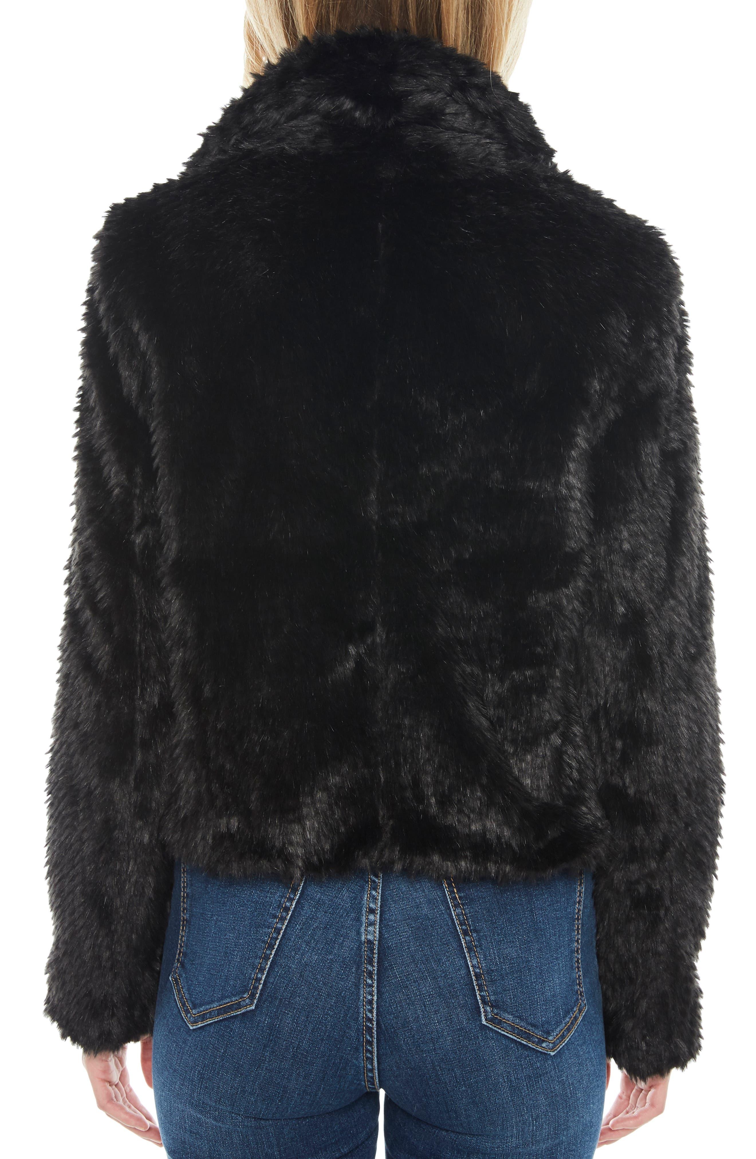 Crop Faux Fur Jacket,                             Alternate thumbnail 2, color,                             BLACK