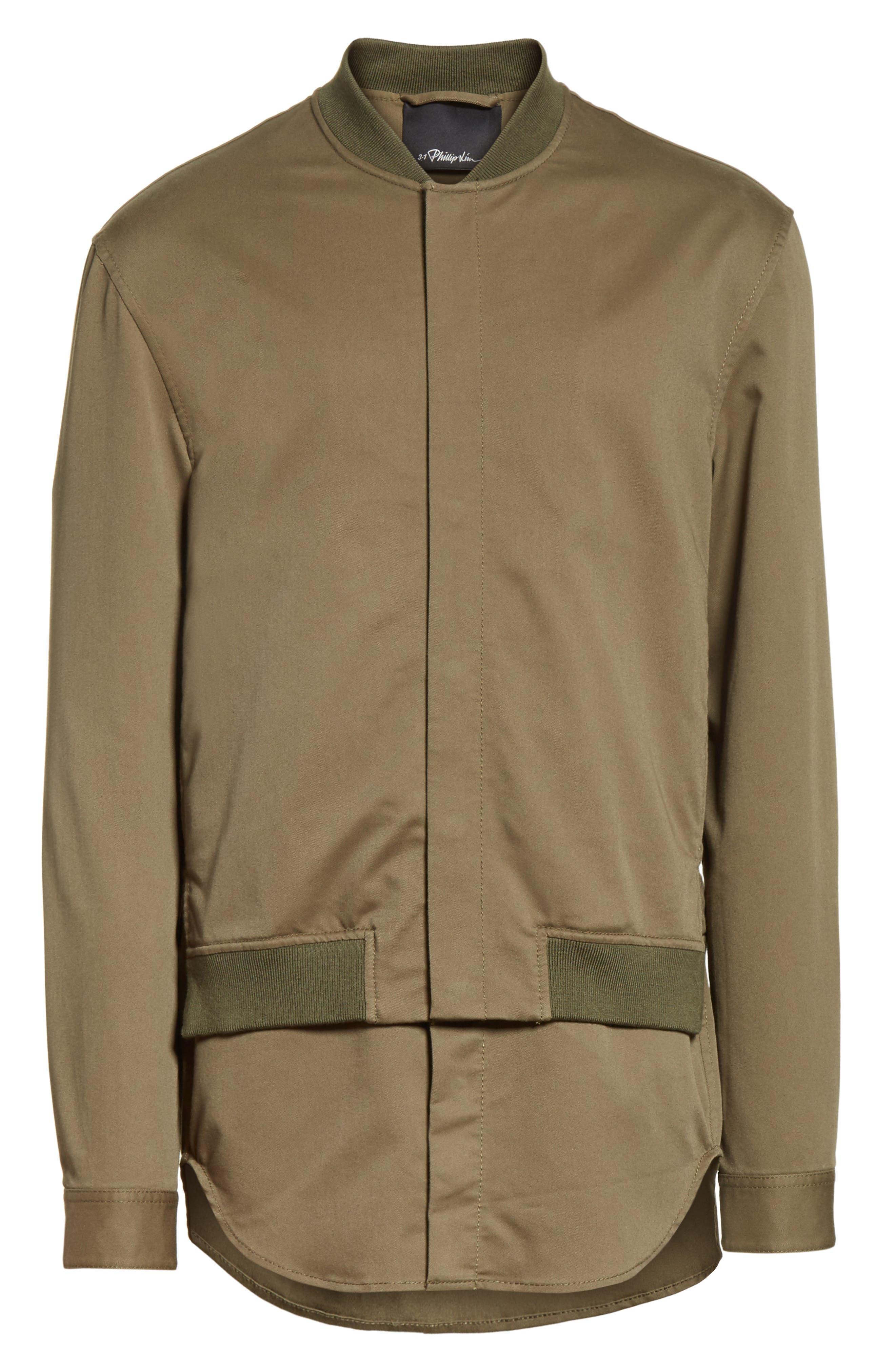 Bomber Shirt Jacket,                             Alternate thumbnail 5, color,                             ARMY