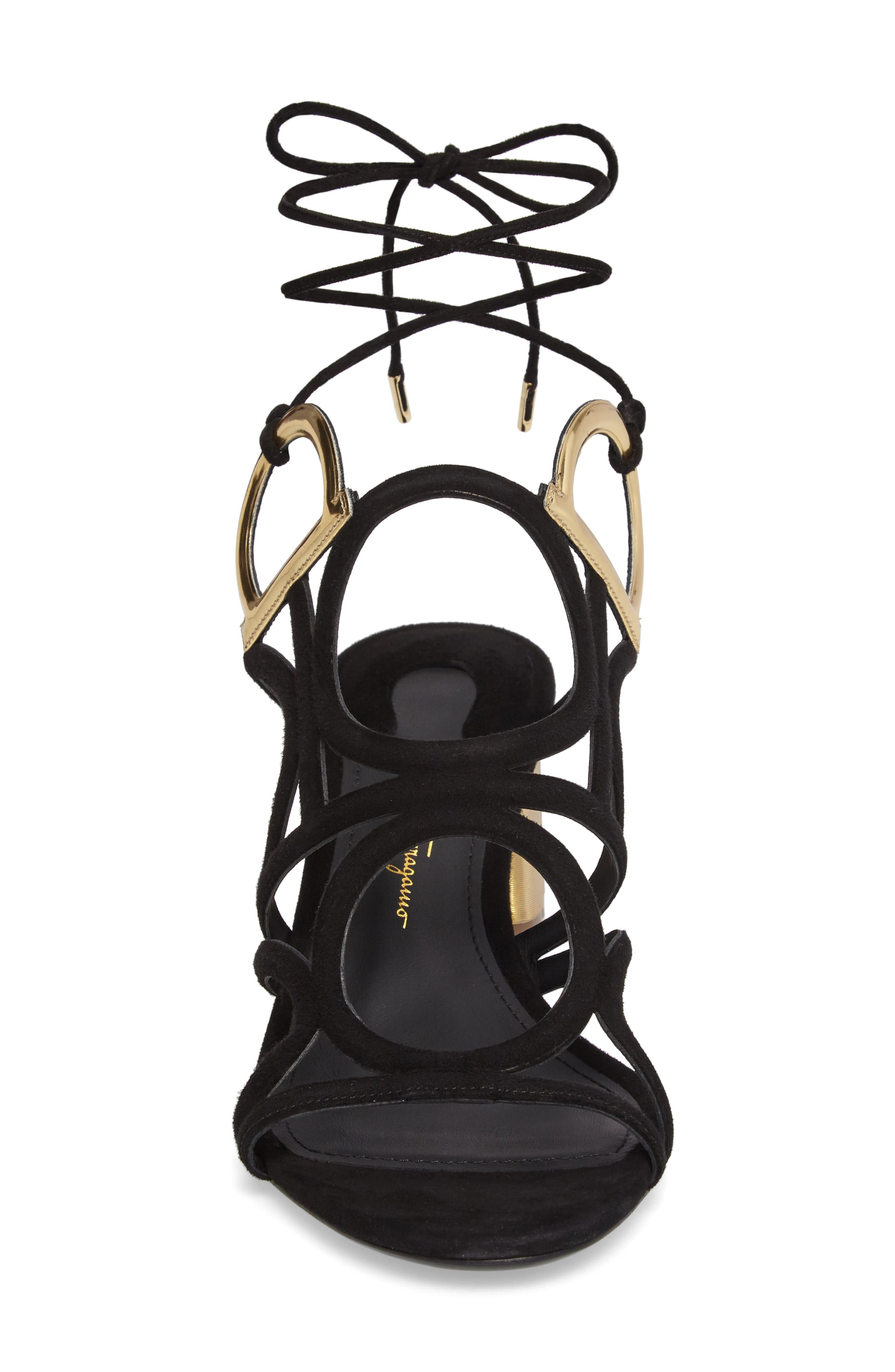 Vinci Lace-Up Block Heel Sandal,                             Alternate thumbnail 4, color,                             BLACK SUEDE