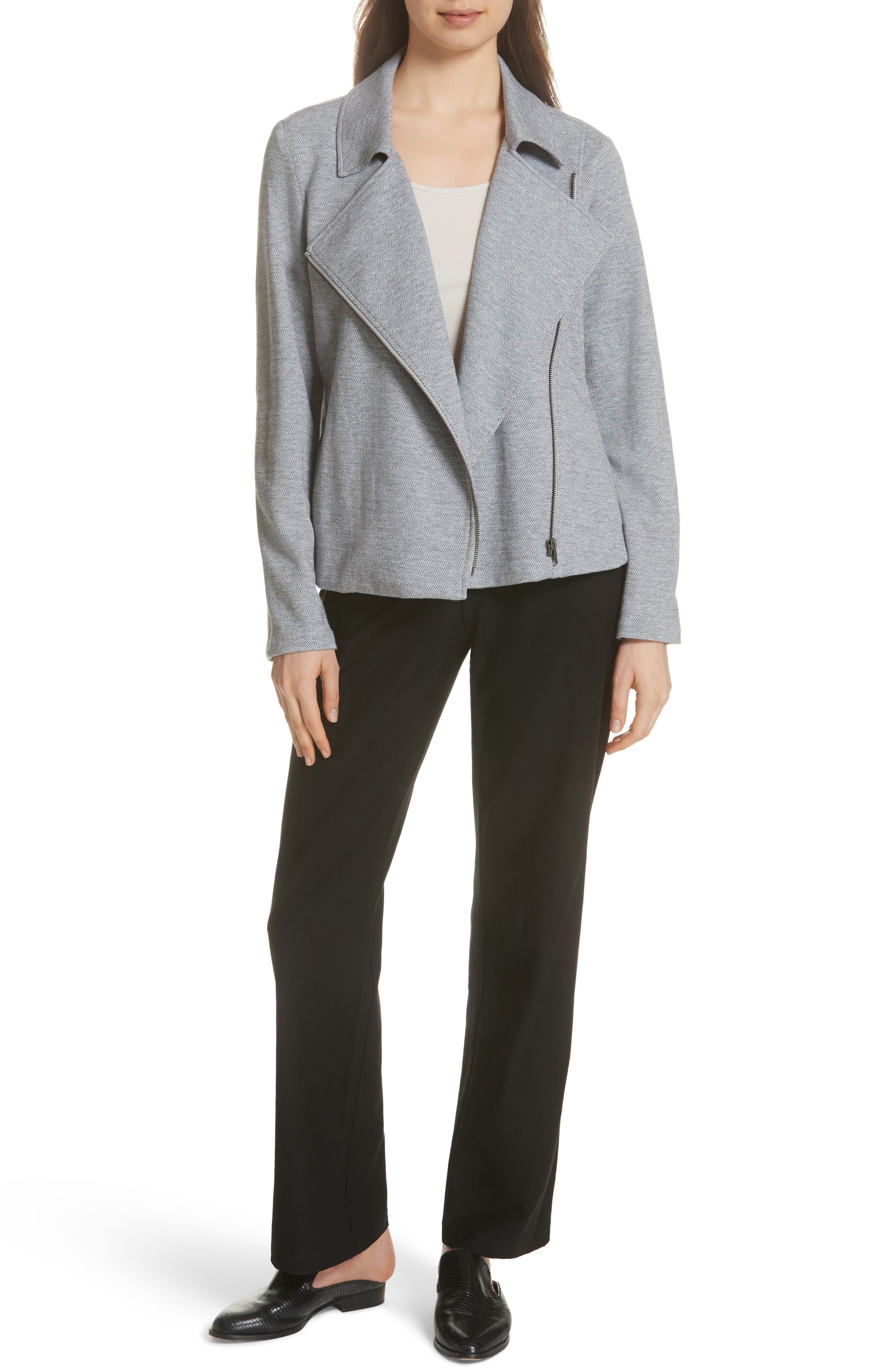 EILEEN FISHER,                             Organic Cotton Tweed Moto Jacket,                             Alternate thumbnail 7, color,                             087